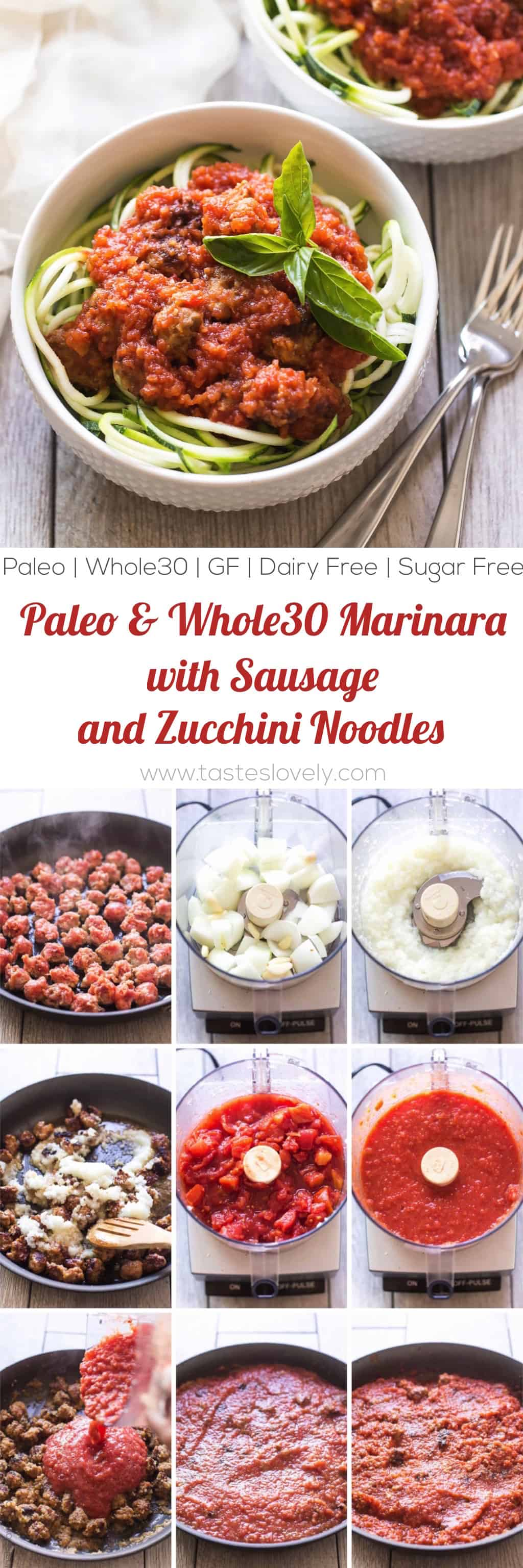 Homemade paleo & Whole30 marinara sauce, made from canned tomatoes with italian sausage. Served over zucchini noodles. A healthy and delicious dinner recipe! Paleo, whole30, gluten free, grain free, dairy free, sugar free, clean eating.