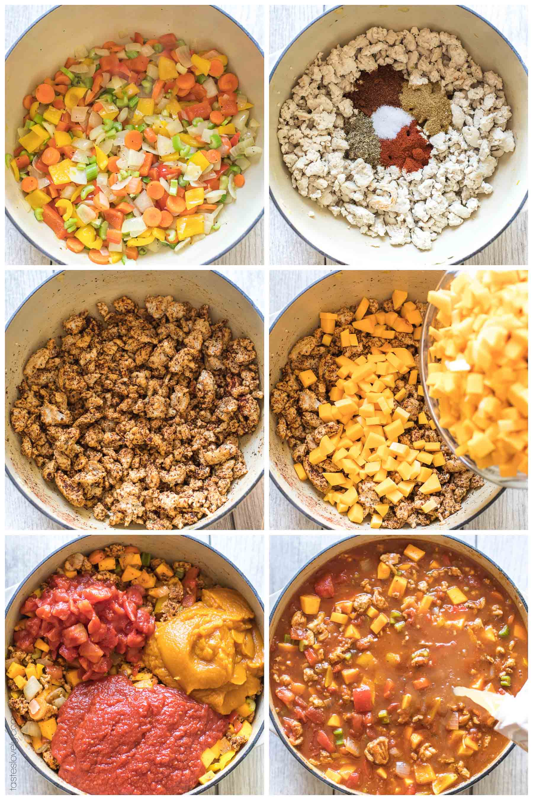 Paleo & Whole30 Pumpkin Turkey Chili Recipe - a no bean chili recipe you can make on the stovetop or in your slow cooker! Dairy free, gluten free, sugar free, clean eating.