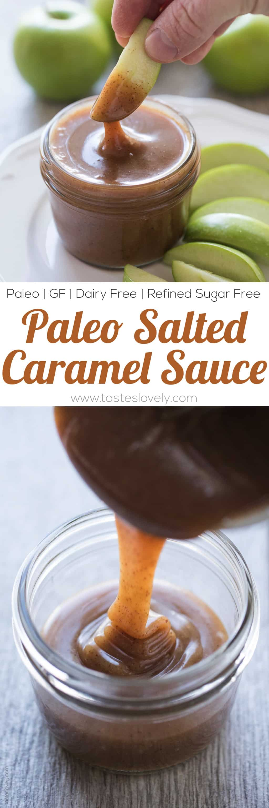 Paleo Salted Caramel Sauce - a 3 minute microwave caramel sauce that is paleo, dairy free, refined sugar free, gluten free and vegan!