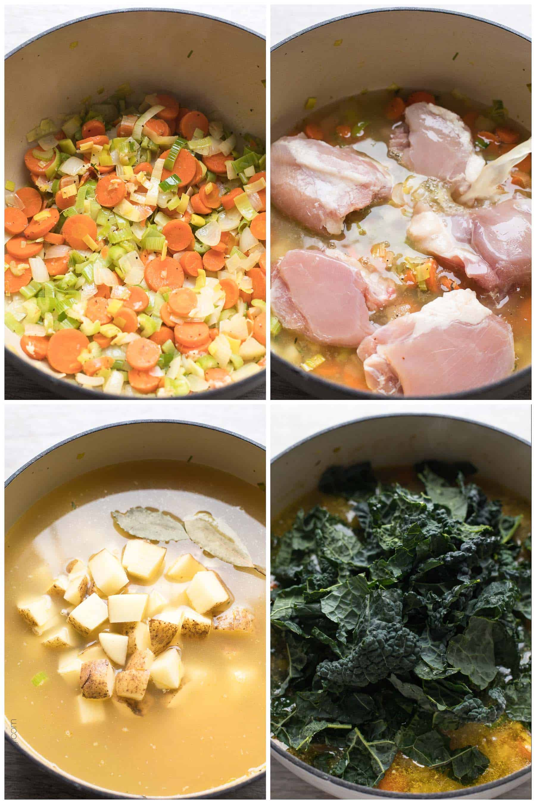 Paleo & Whole30 Potato, Leek & Chicken Soup with Kale - a healthy and flavorful detox soup recipe. Gluten free, grain free, sugar free, dairy free, clean eating.