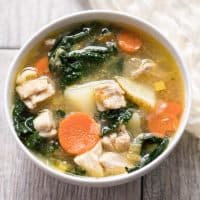 Paleo & Whole30 Potato, Leek & Chicken Soup with Kale