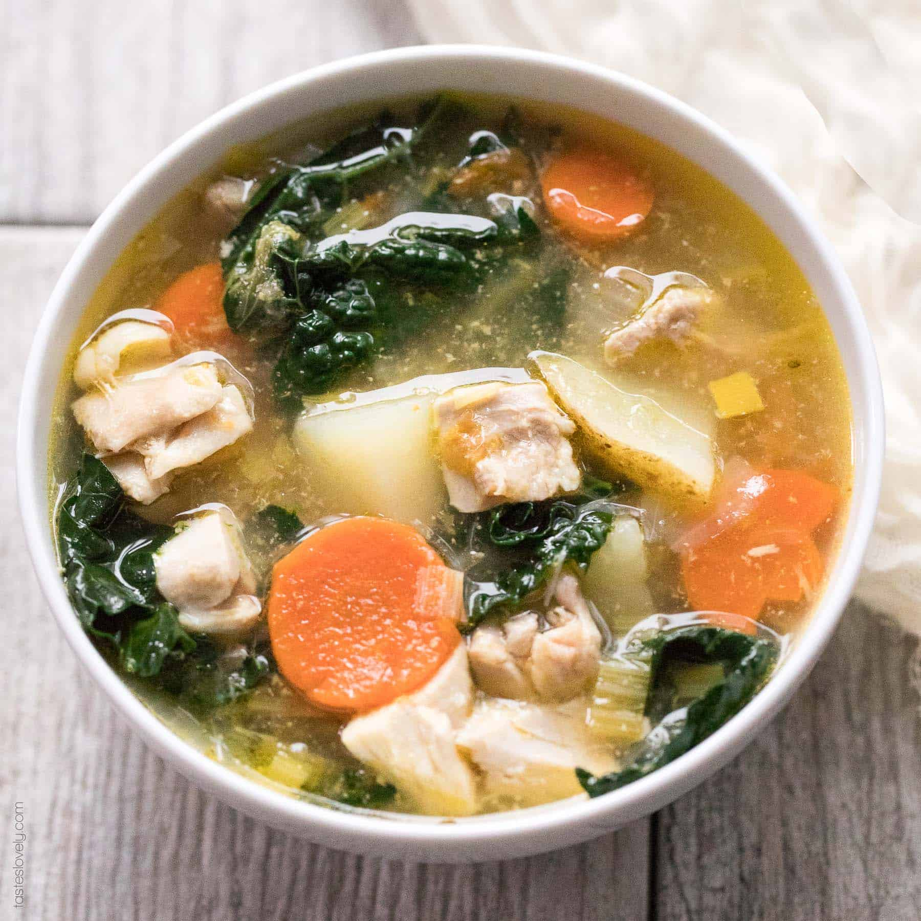 Paleo Whole30 Potato Leek Chicken Soup With Kale Tastes Lovely