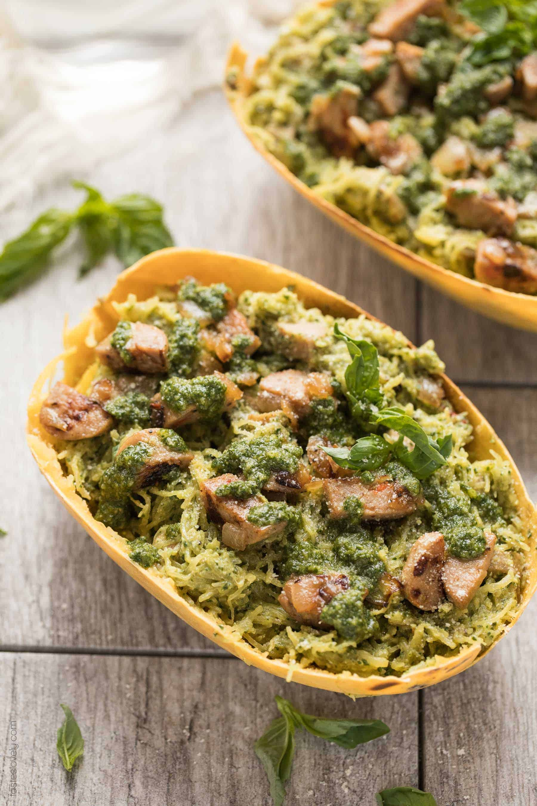 Spaghetti Squash with Sausage & Pesto (Paleo, Whole30) - a simple and delicious gluten free pasta recipe!