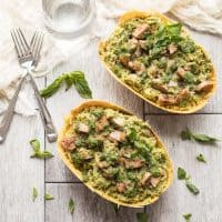 Spaghetti Squash with Pesto & Sausage (Paleo, Whole30)