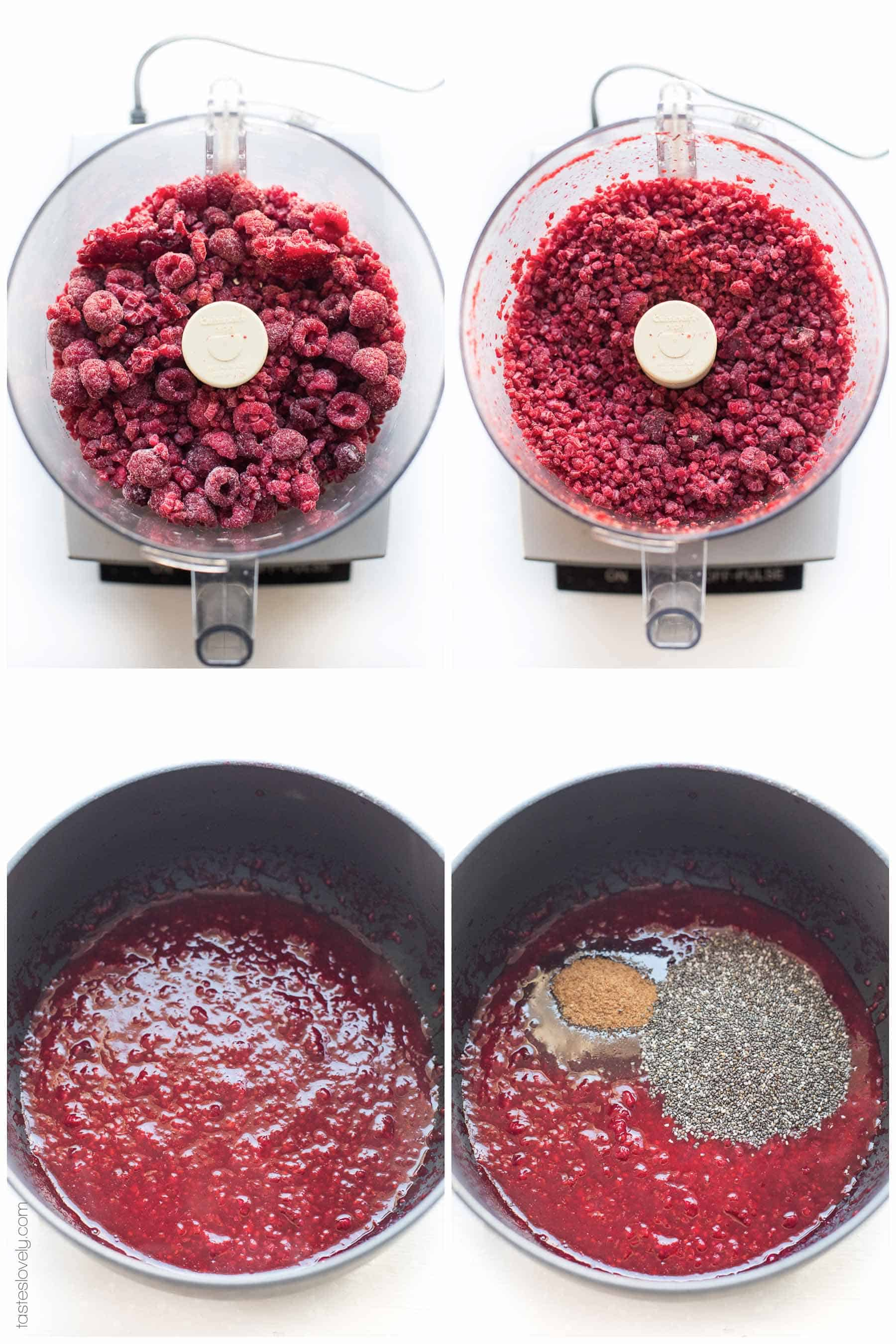 Paleo Chia Seed Jam with Frozen Berries - use any frozen berry! Sweetened with coconut sugar and freezer friendly.