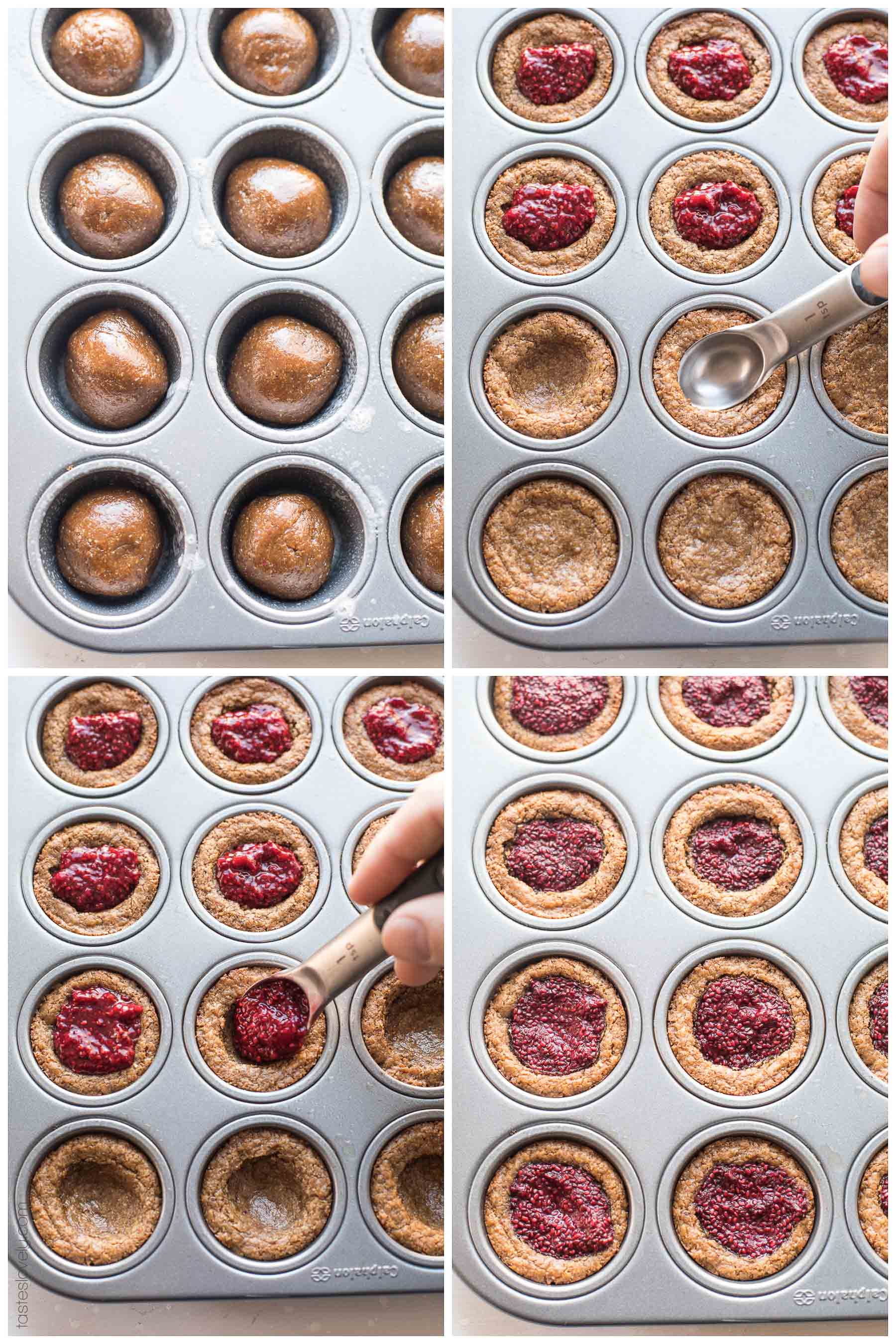 Paleo Almond Butter and Chia Jam Cookie Cups - a gluten free, dairy free and refined sugar free cookie recipe