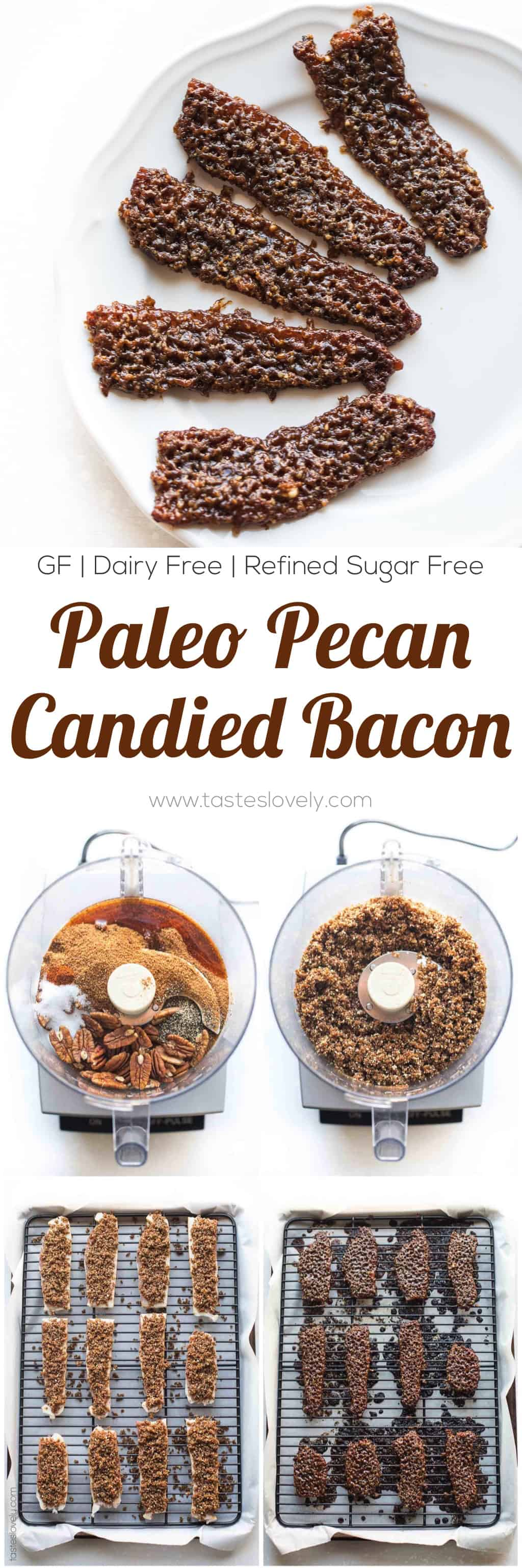 Paleo Pecan Candied Bacon - a salty + sweet brunch side or appetizer recipe (gluten free, dairy free, refined sugar free)