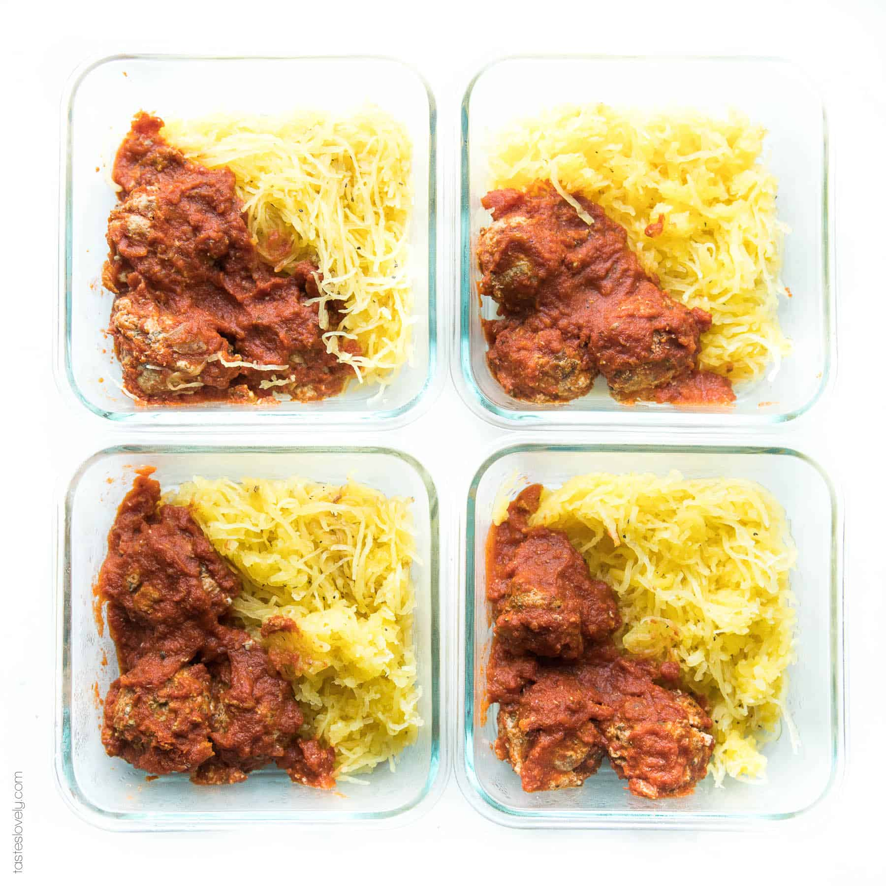 meatballs and spaghetti squash noodles in a meal prep container