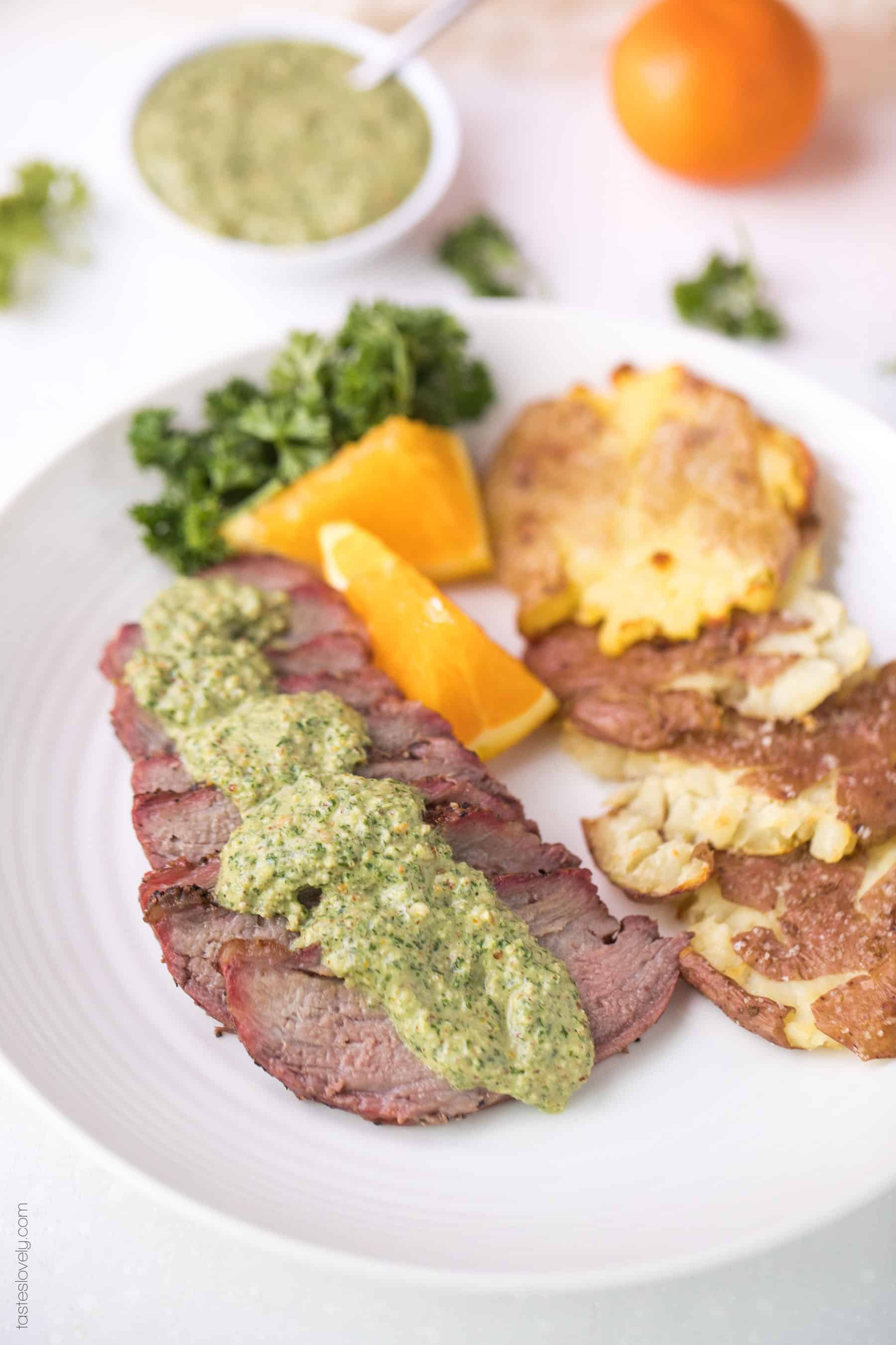 Paleo + Whole30 Tri Tip with Orange Parsley Sauce Recipe - a 30 minute summer grilling recipe. Gluten free, grain free, dairy free, sugar free, keto, clean eating, real food.