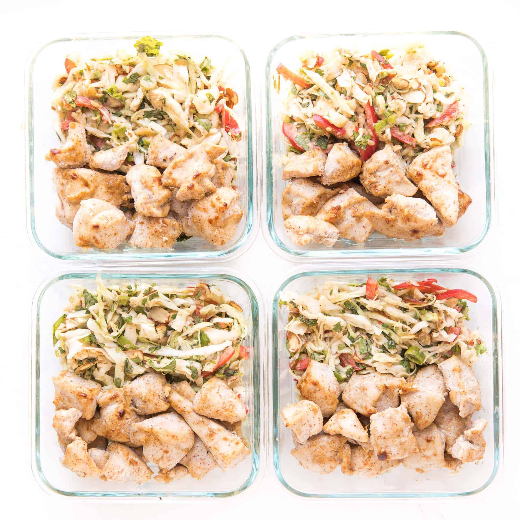 whole30 + keto thai chicken stay meal prep in containers
