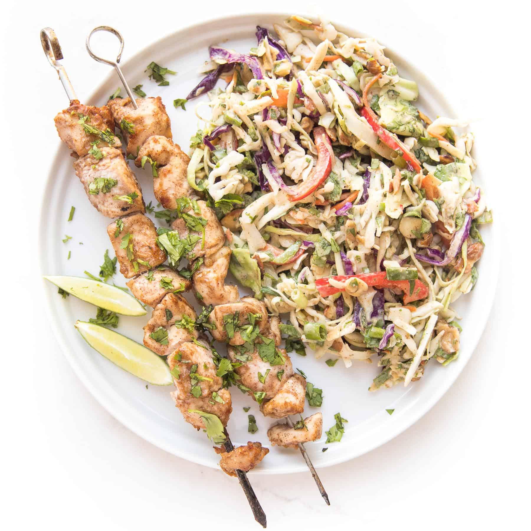 Whole30 Keto Thai Chicken Satay Skewers Coleslaw Tastes Lovely