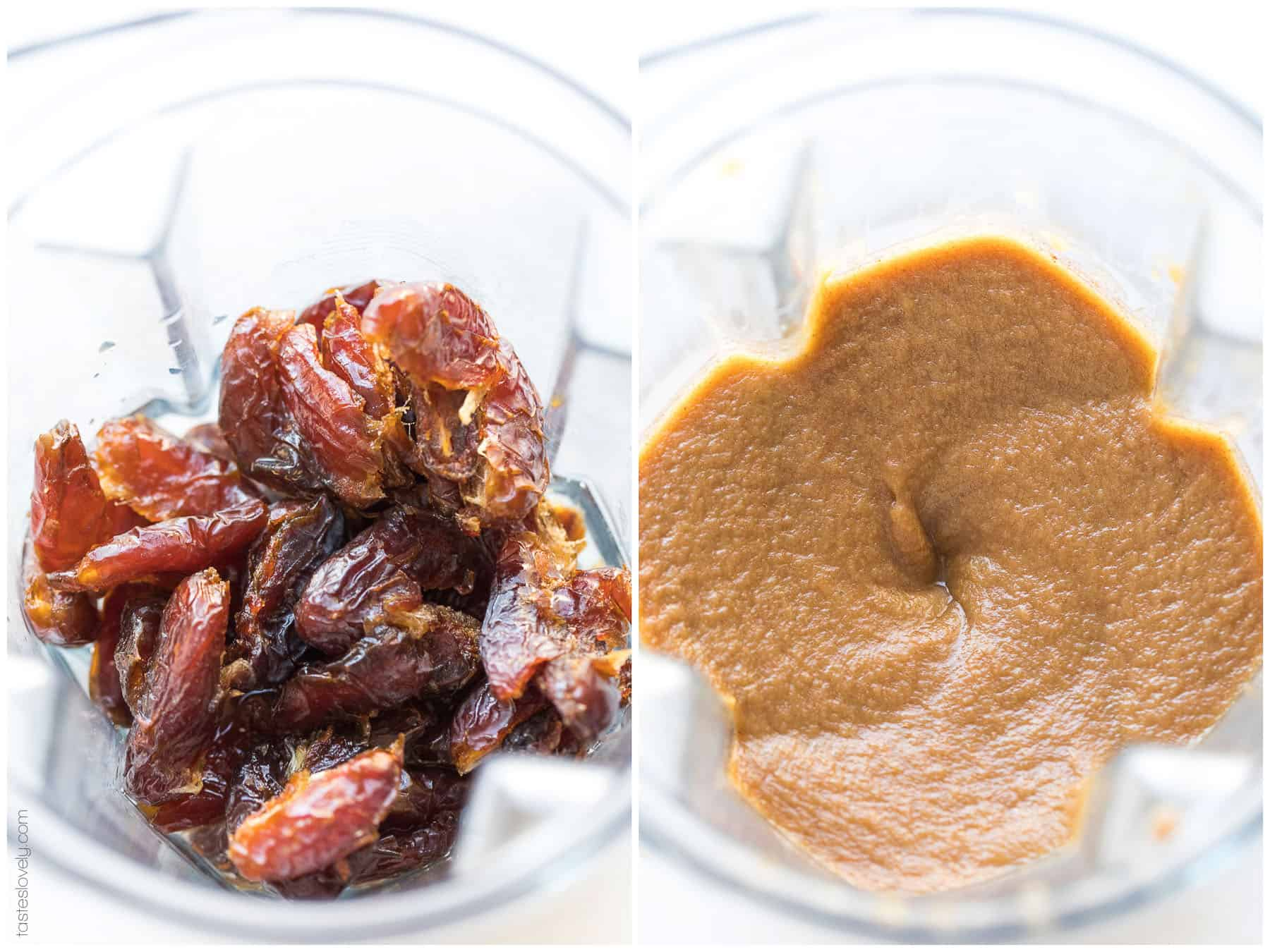 Blender with pitted dates turning into date paste