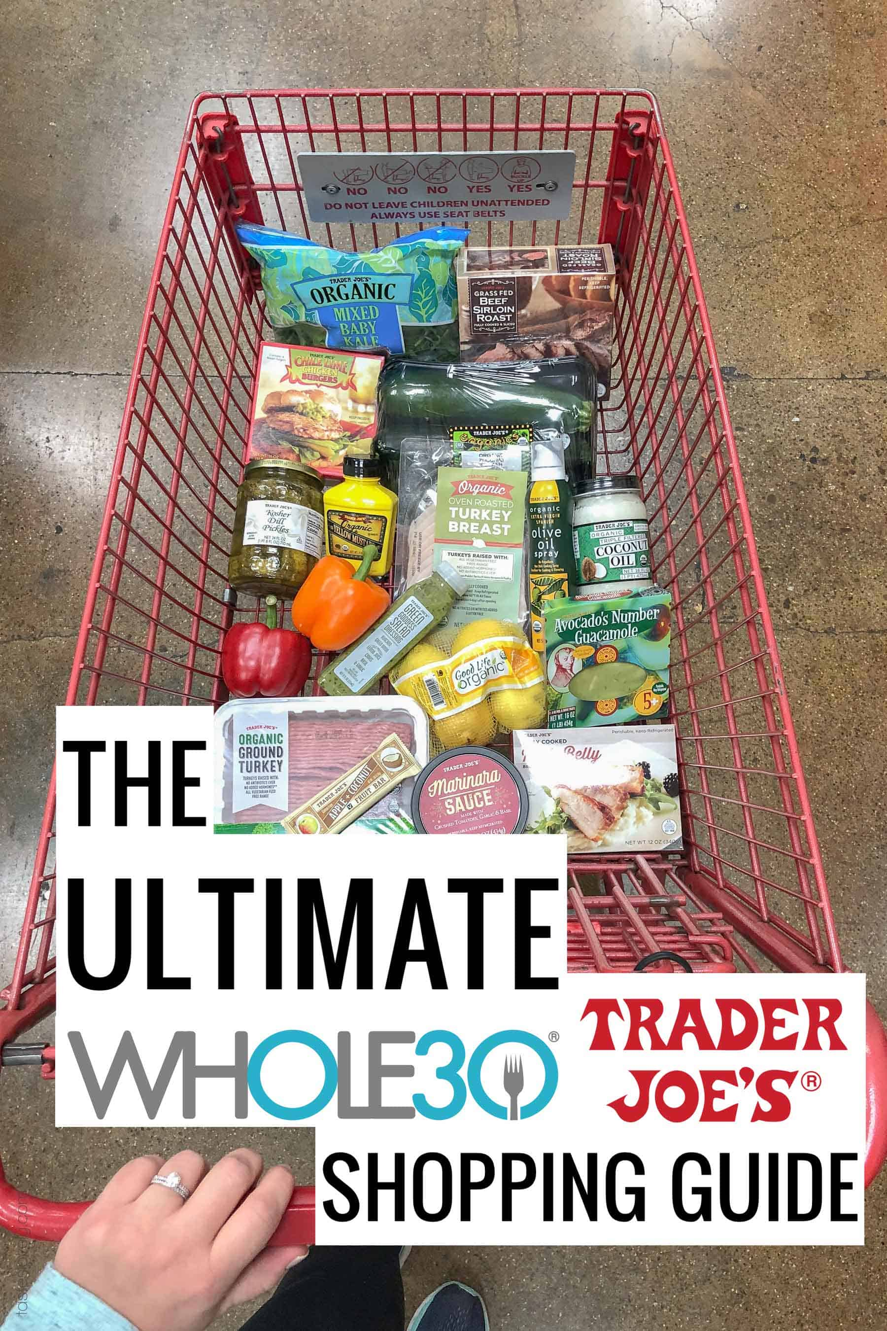 Trader Joe's grocery cart with whole30 compliant items