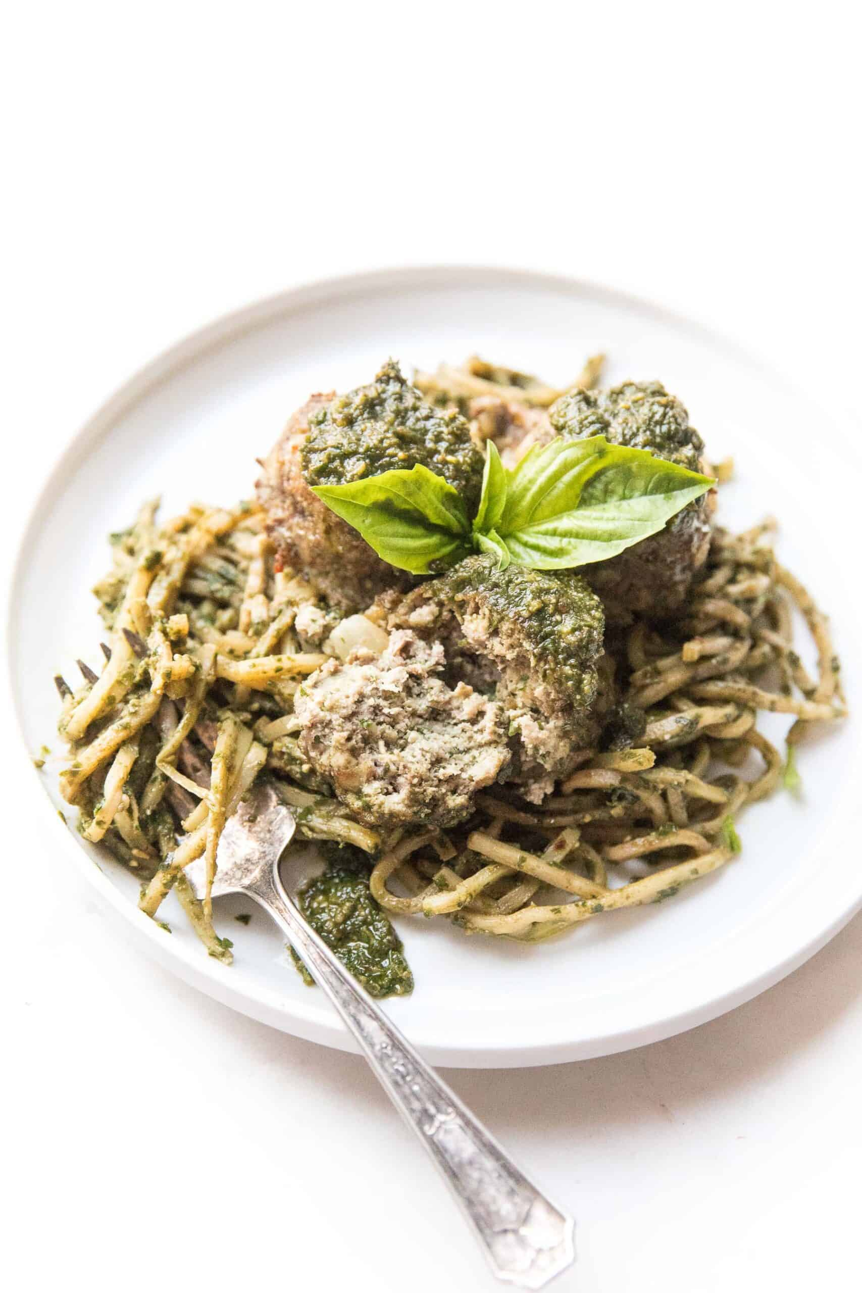 pesto meatballs on pesto hearts of palm low carb noodles