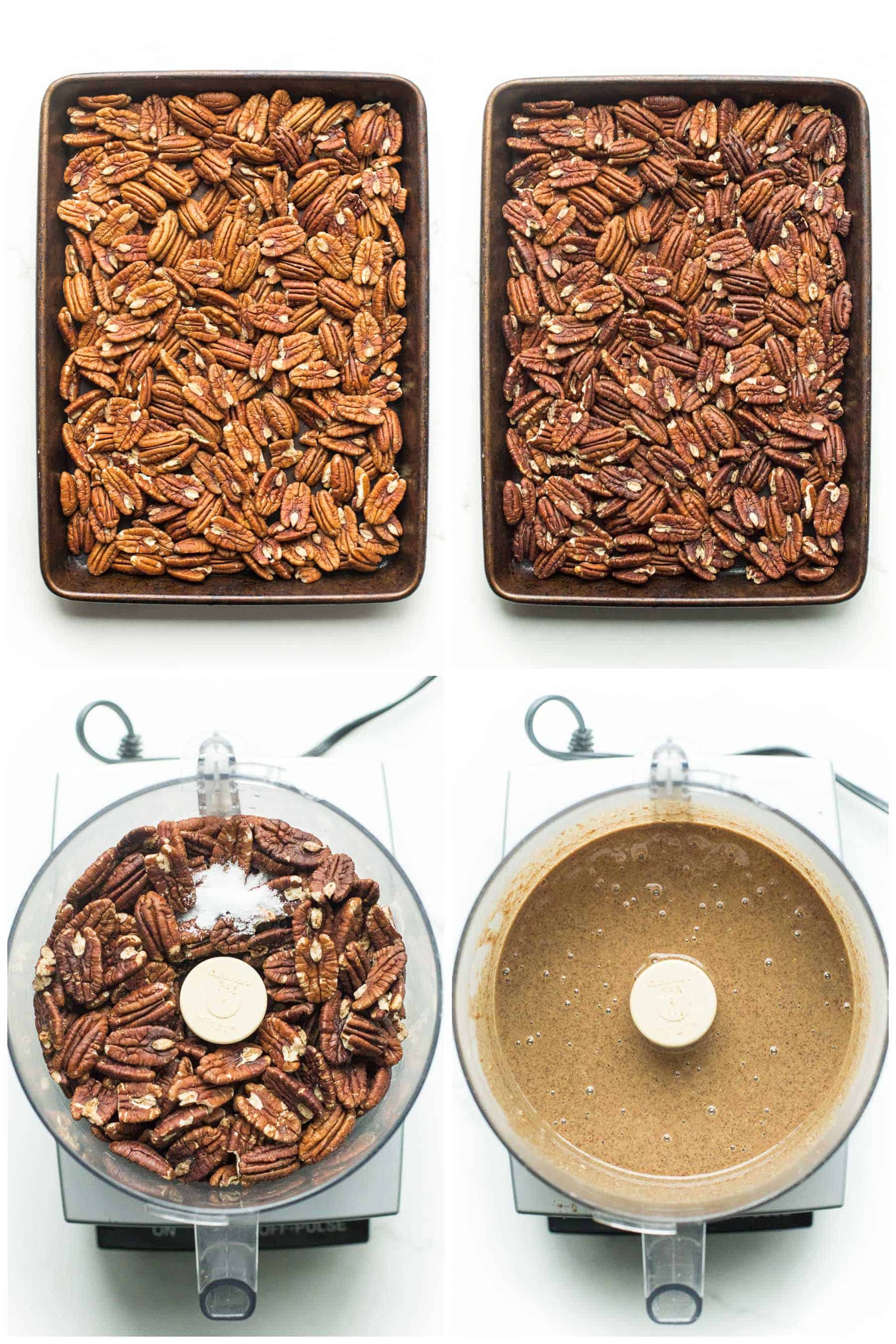 steps of making homemade pecan butter