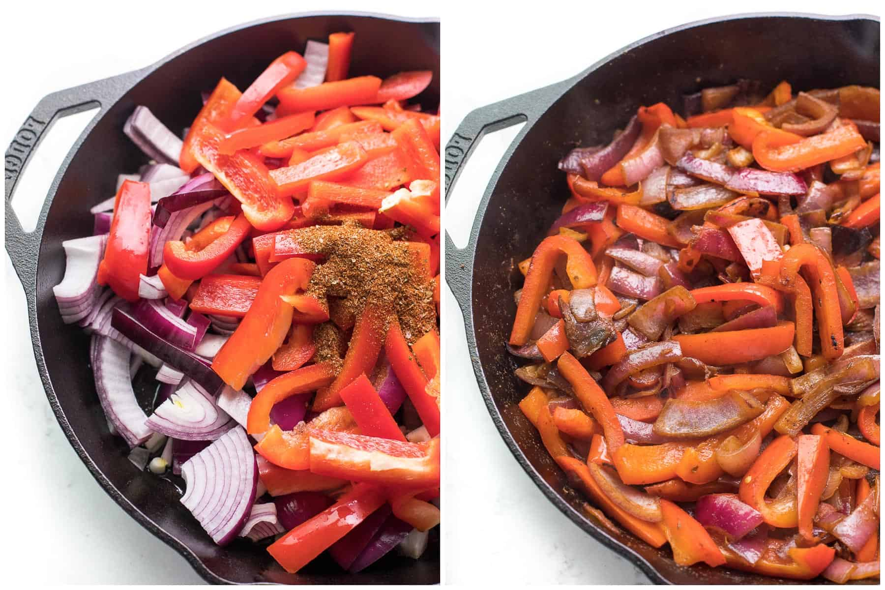 steps to making fajita veggies in a cast iron skillet
