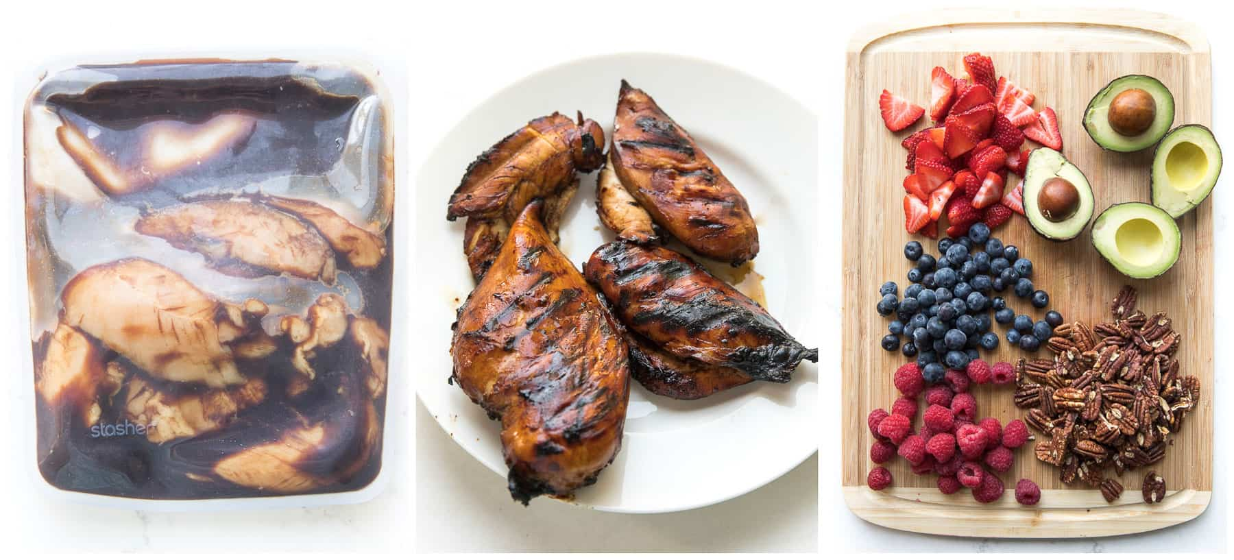 steps to making balsamic chicken berry salad
