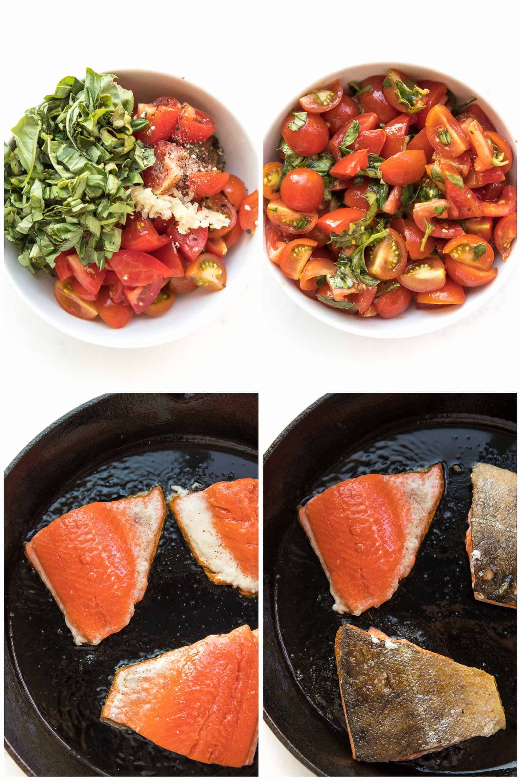steps to making caprese pesto salmon