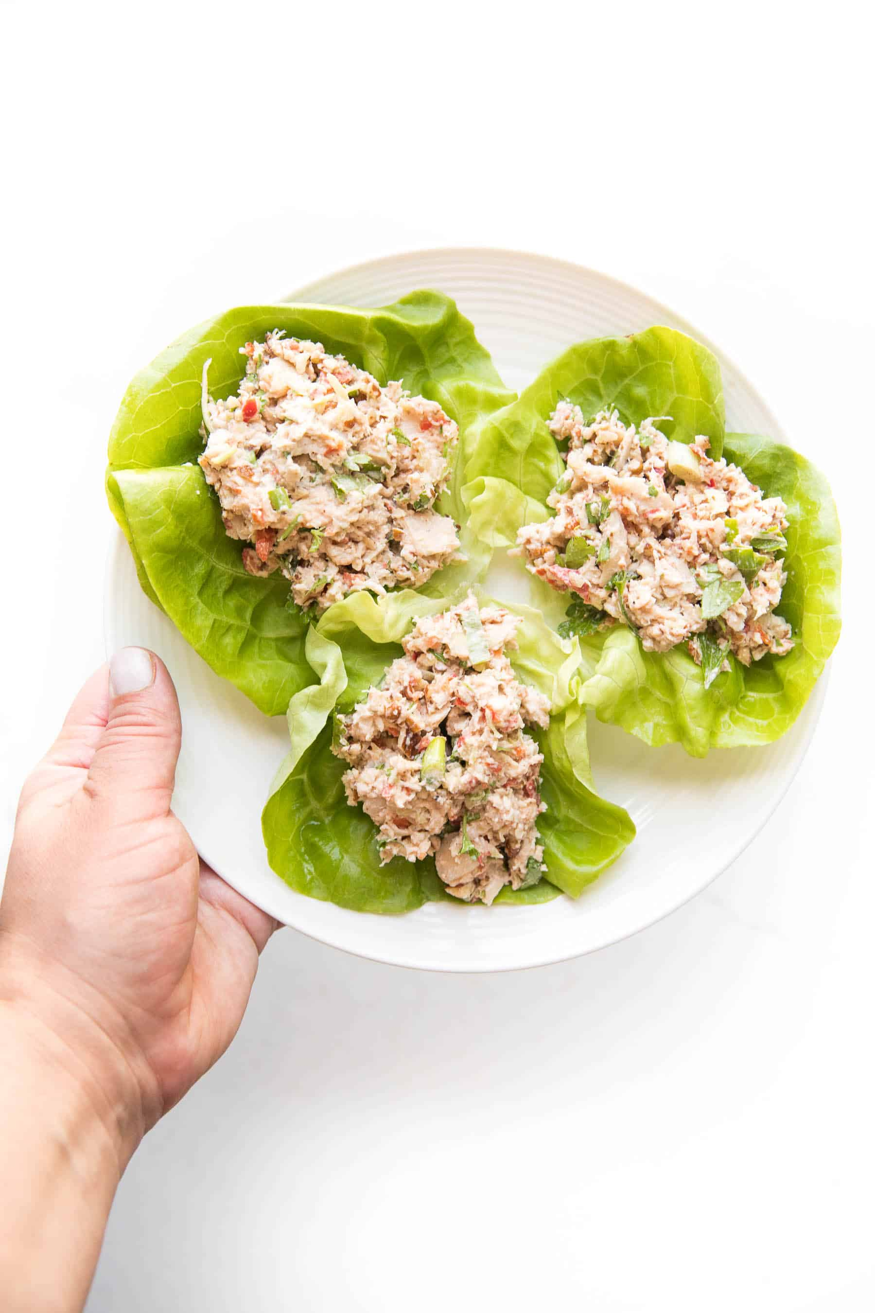 chicken salad on butter lettuce on a white plate and white background