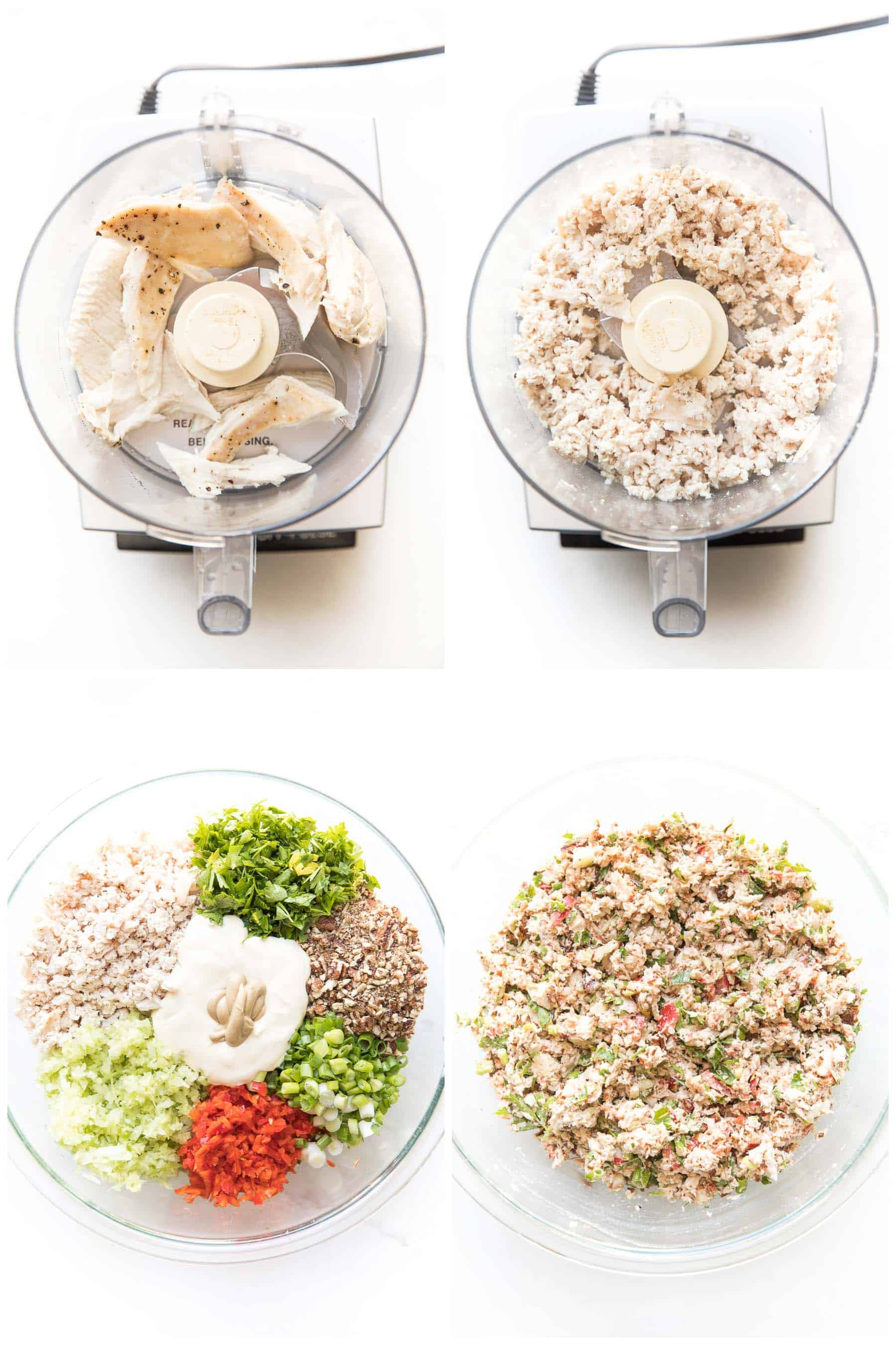 steps for making chicken salad in a food processor