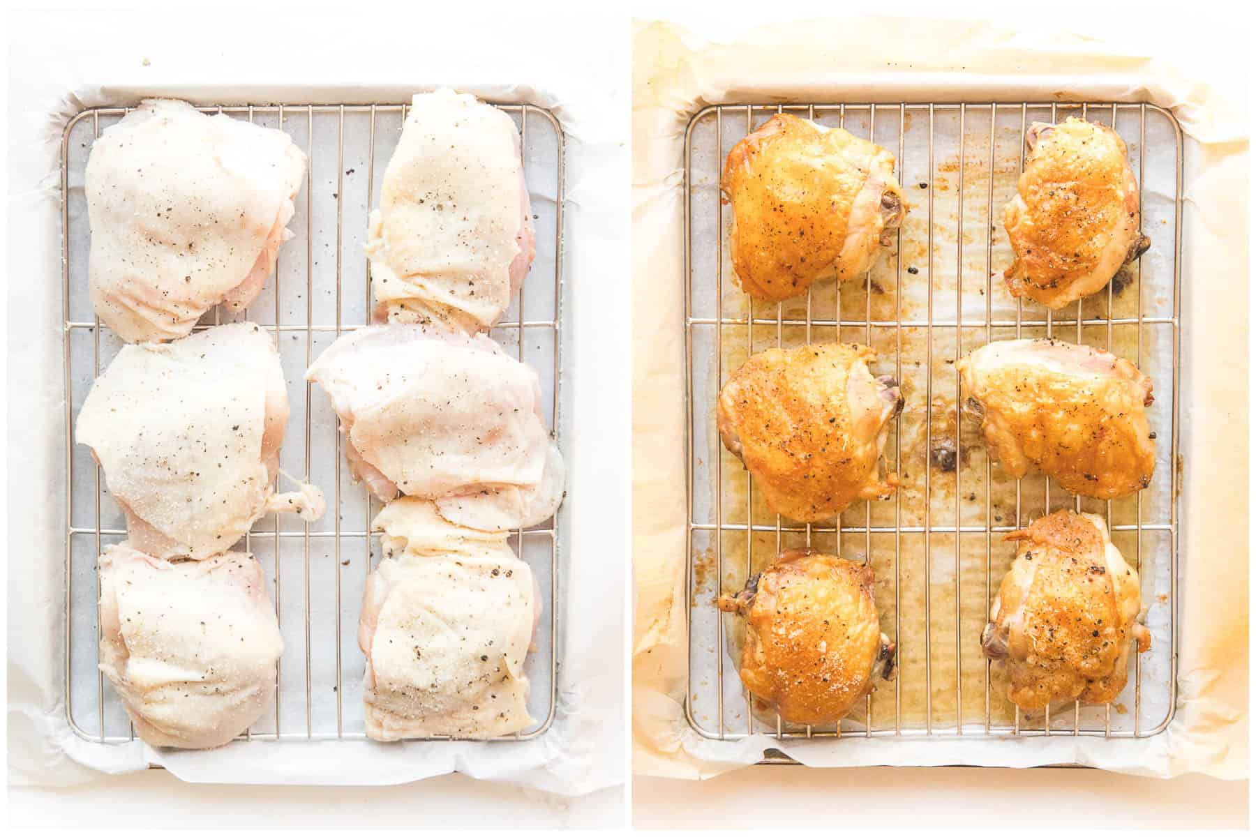 how to make crispy golden brown chicken thighs on a wire rack rimmed baking sheet