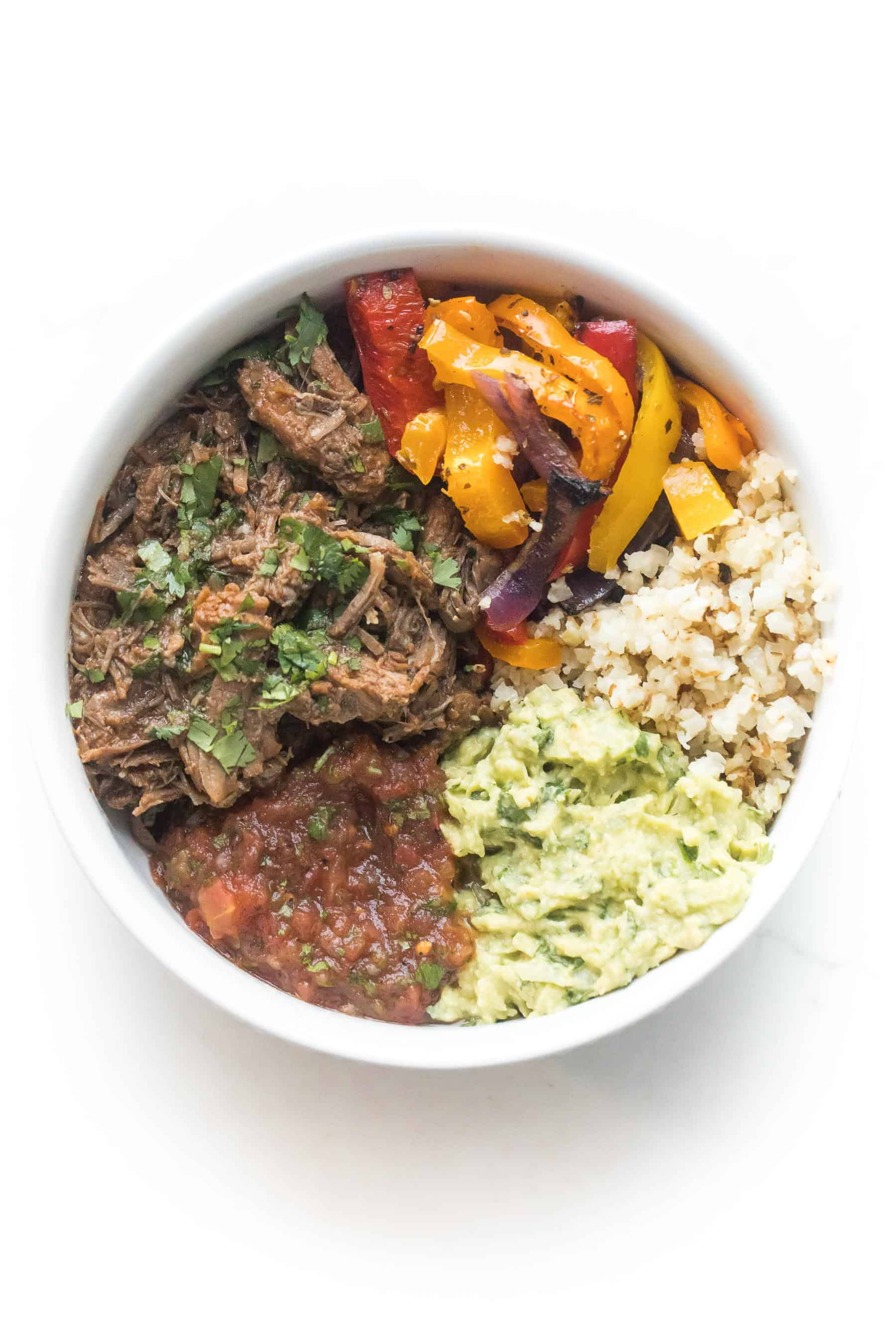 barbacoa burrito bowls on a white background