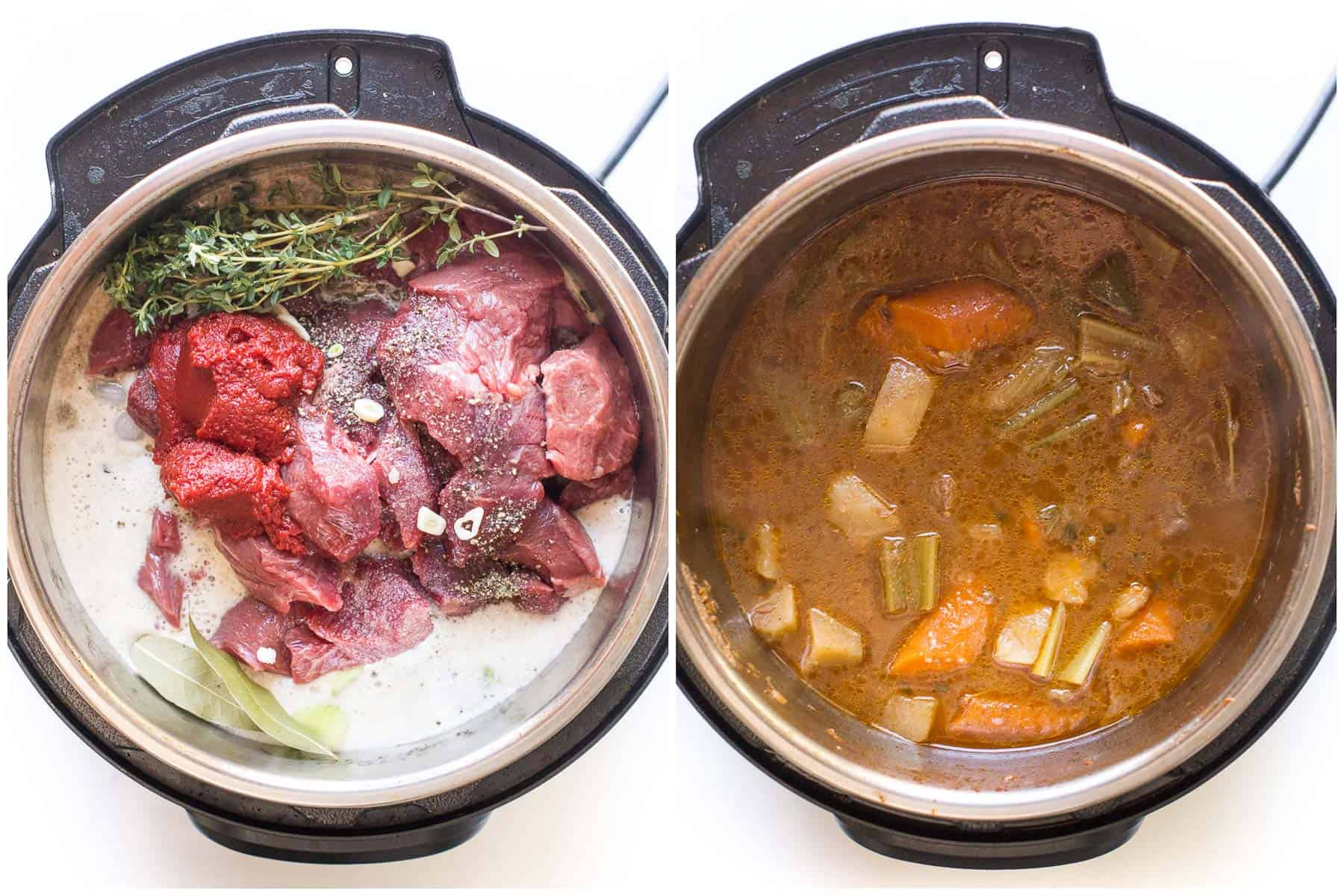 steps to making beef stew in the instant pot before and after