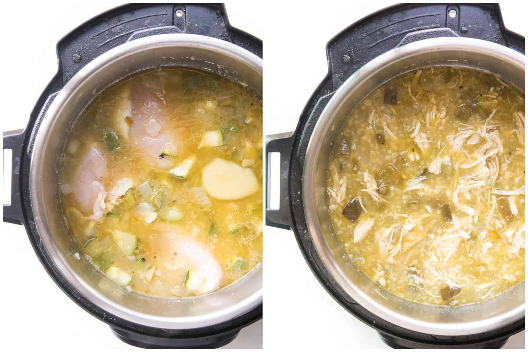 how to make verde chicken chili in an instant pot before and after cooking