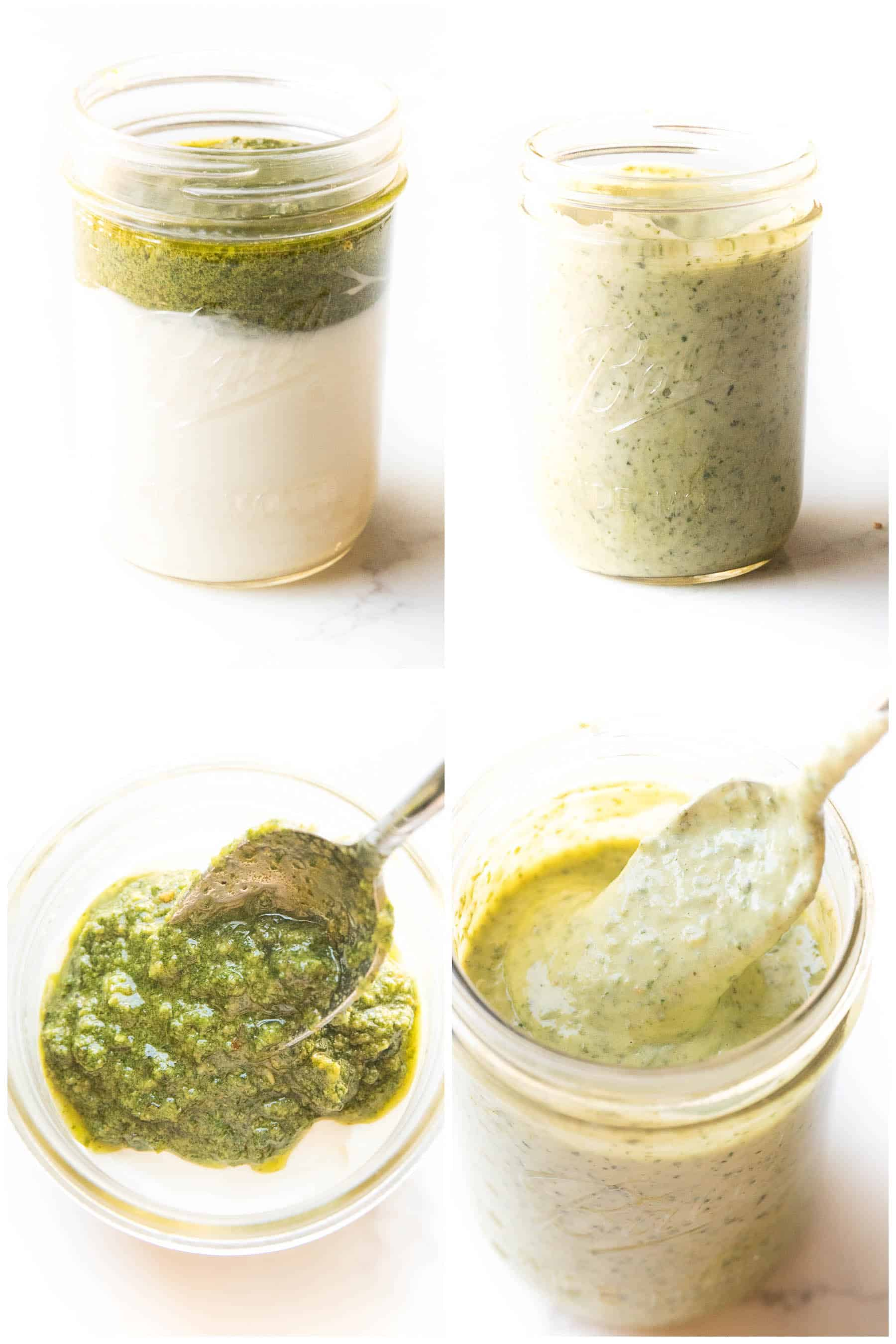 steps to making pesto aioli in a mason jar on a white background