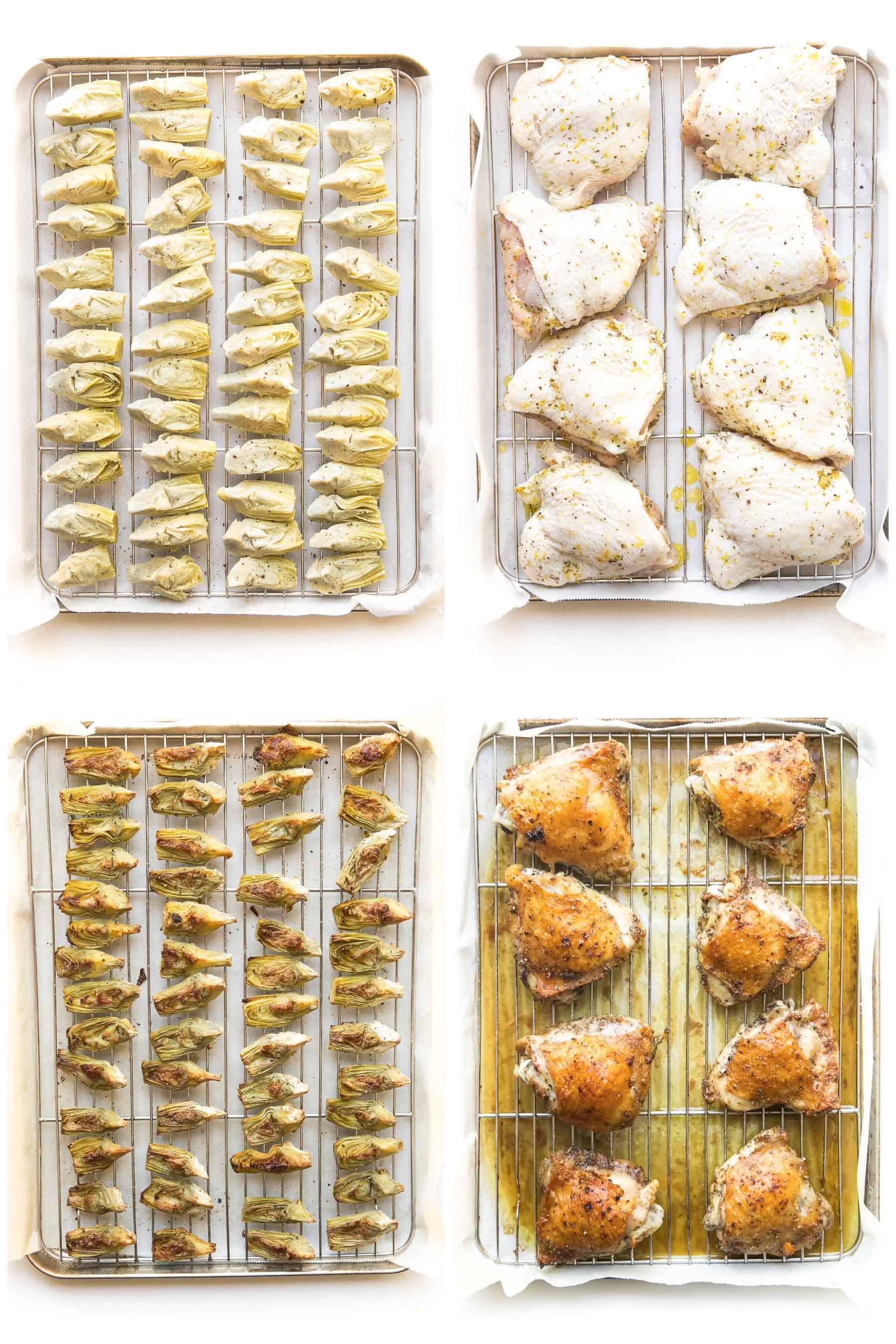 steps to making sheet pan greek chicken