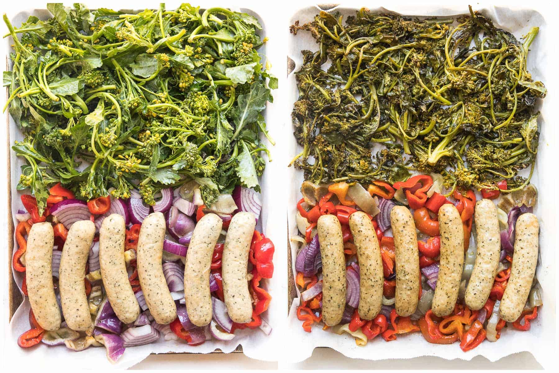 before and after of sheet pan sausage + veggies