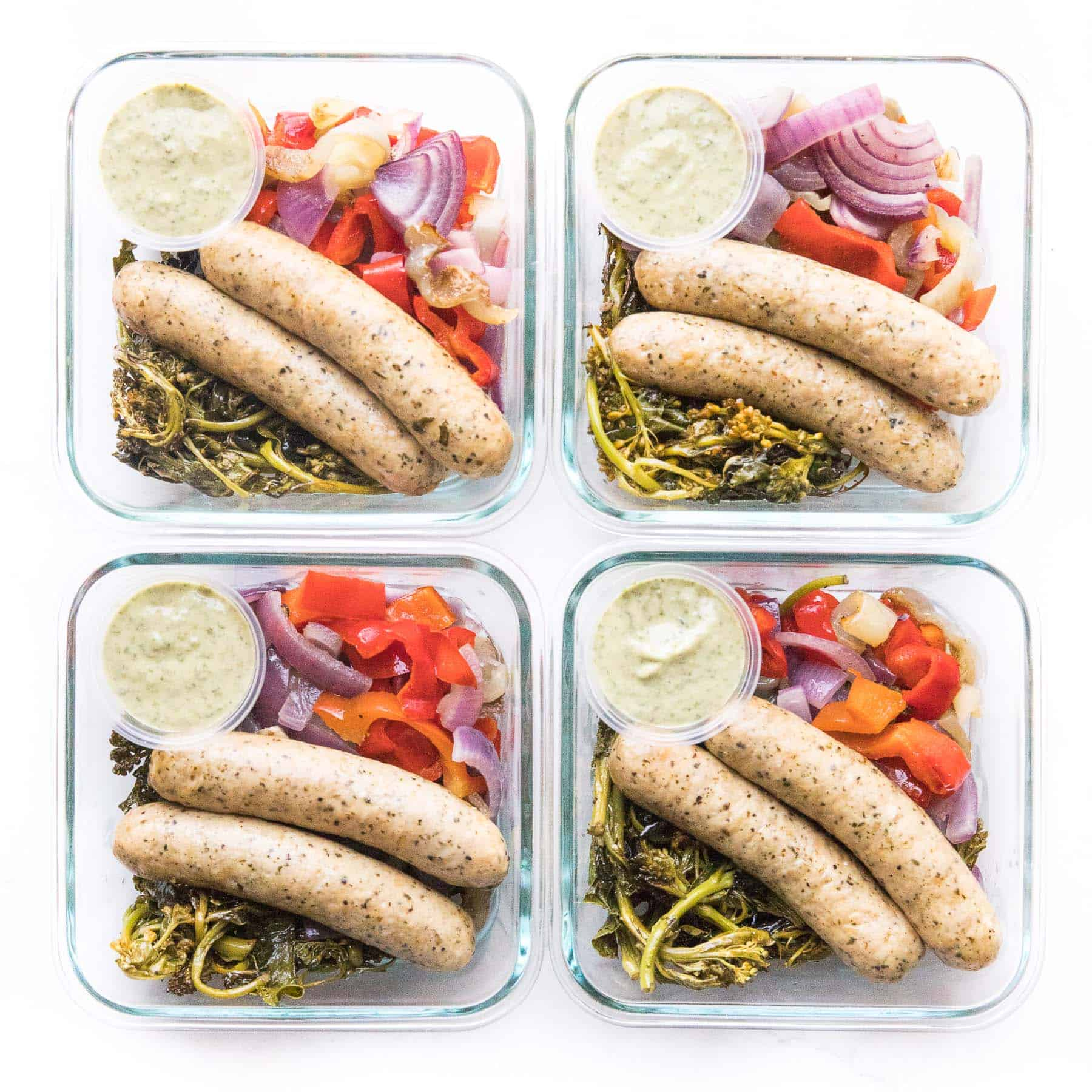 meal prep sausage and veggies