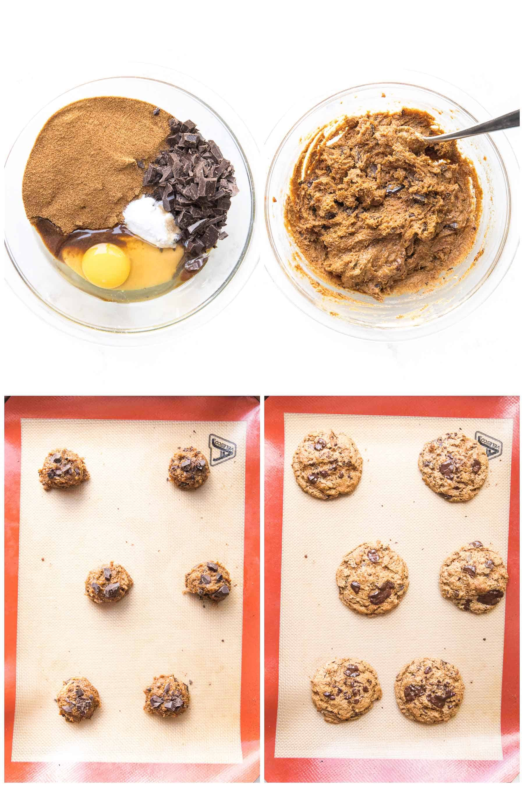 steps to making keto cashew butter chocolate chip cookies