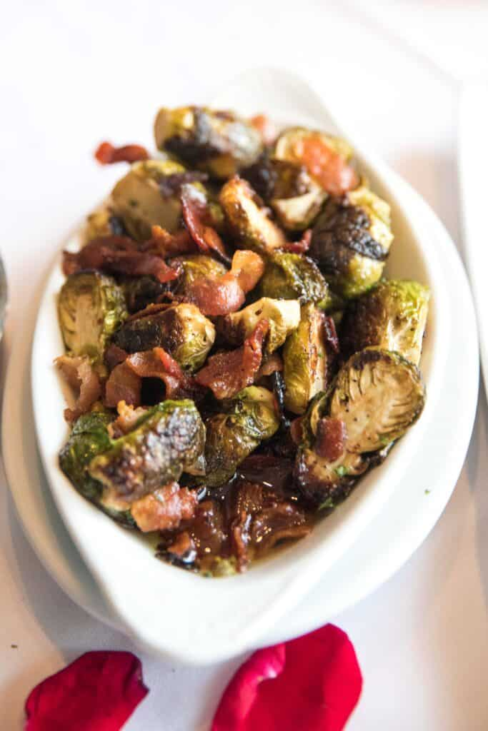 roasted brussles sprouts with bacon at ruth's chris steakhouse keto friendly menu