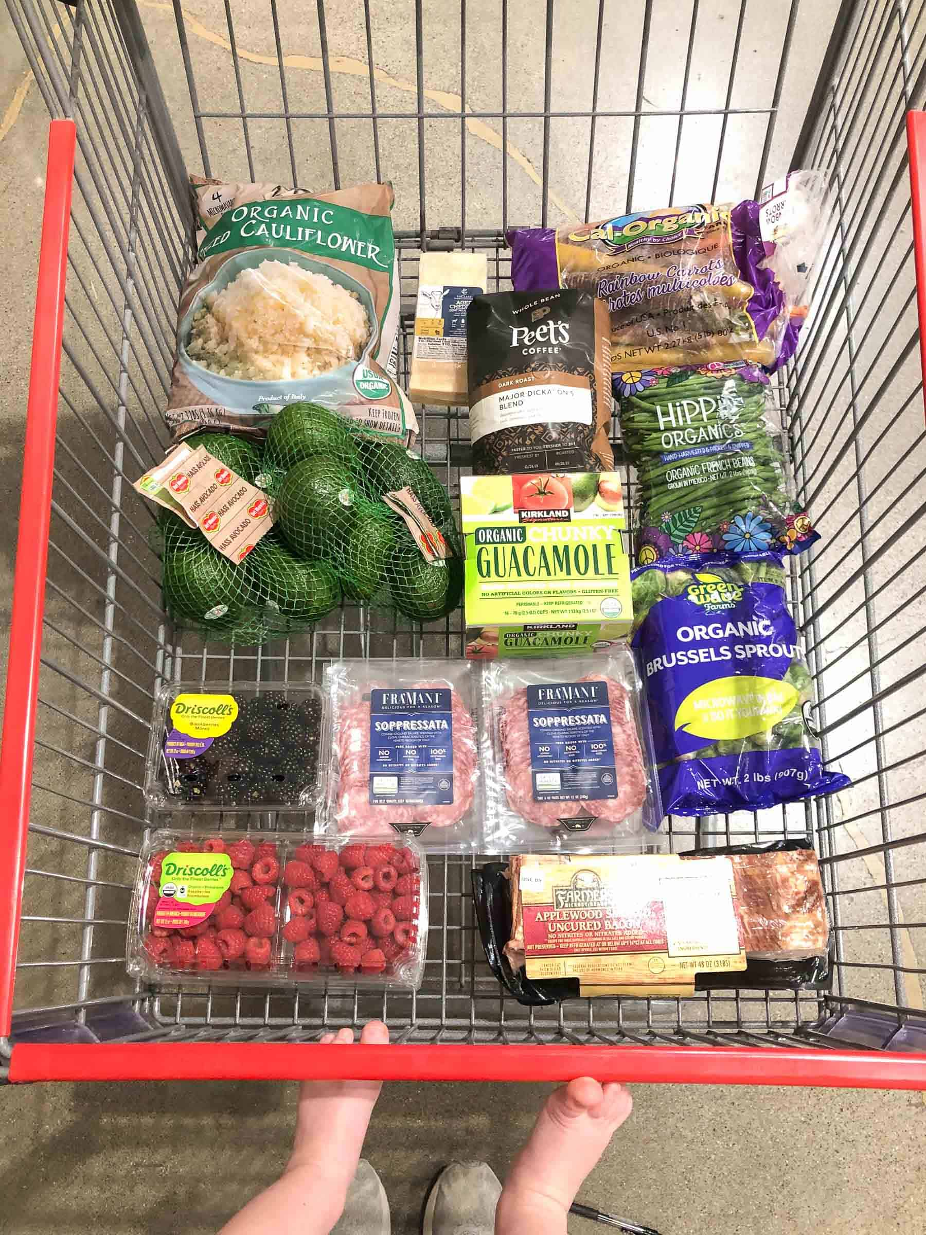 clean eating whole30 + keto groceries costco shopping cart grocery haul