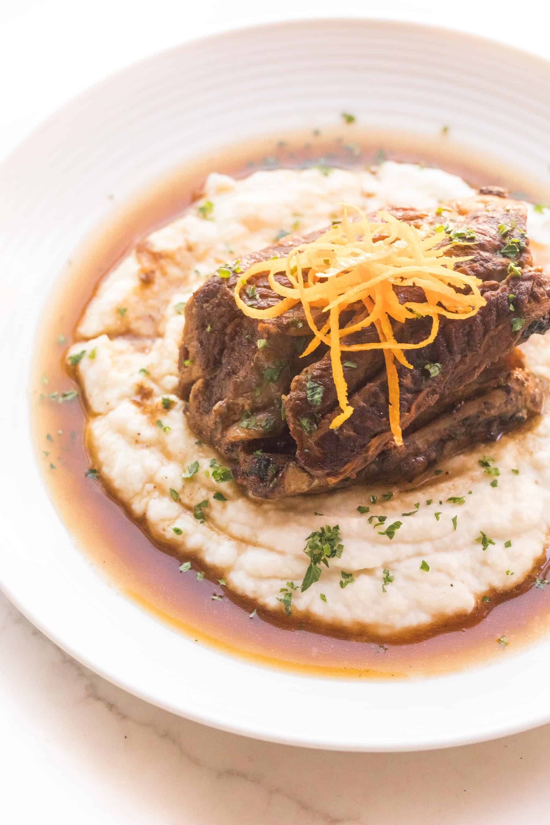 moroccan short ribs over mashed cauliflower