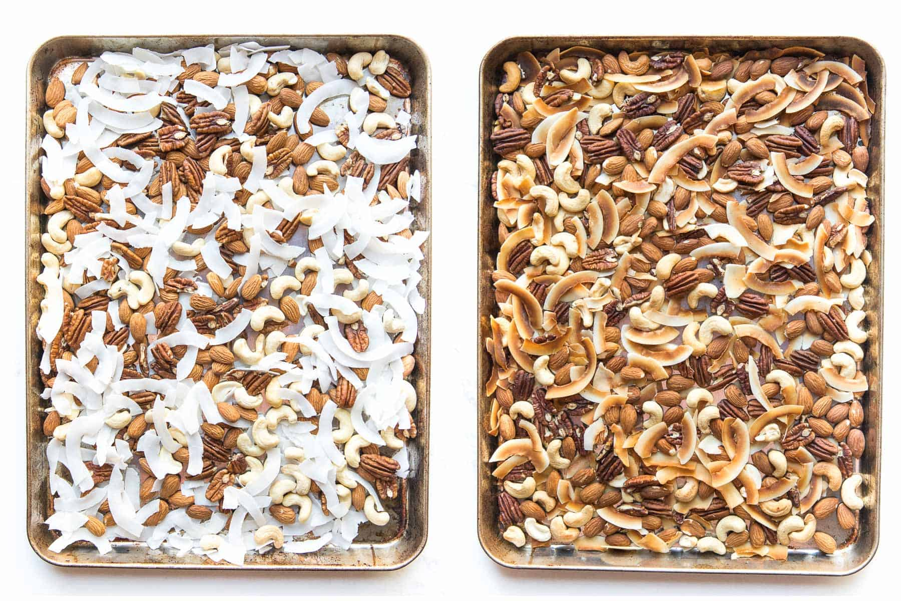 before and after of roasting nuts and coconuts trail mix