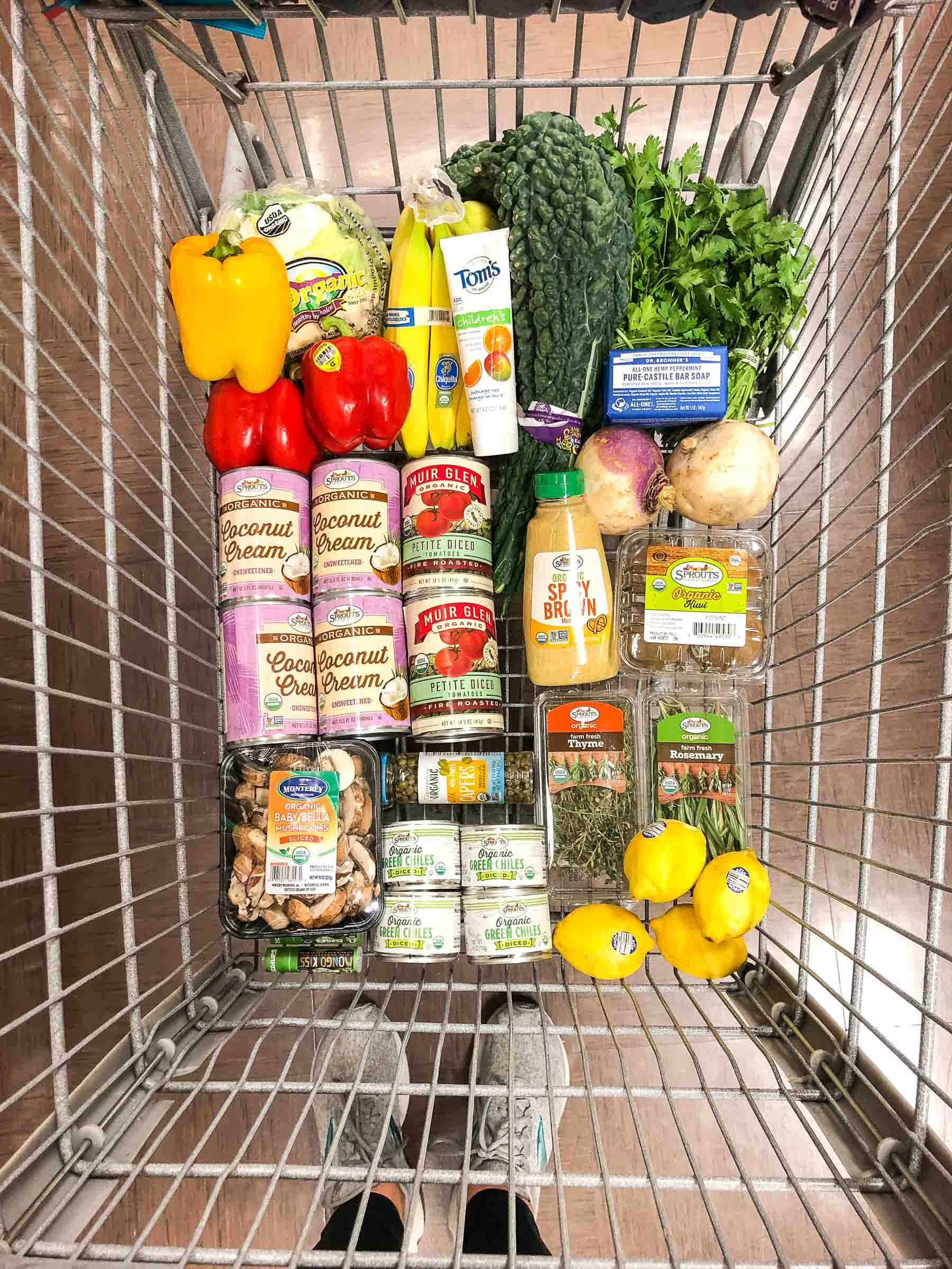 whole30 keto grocery haul groceries in a grocery cart