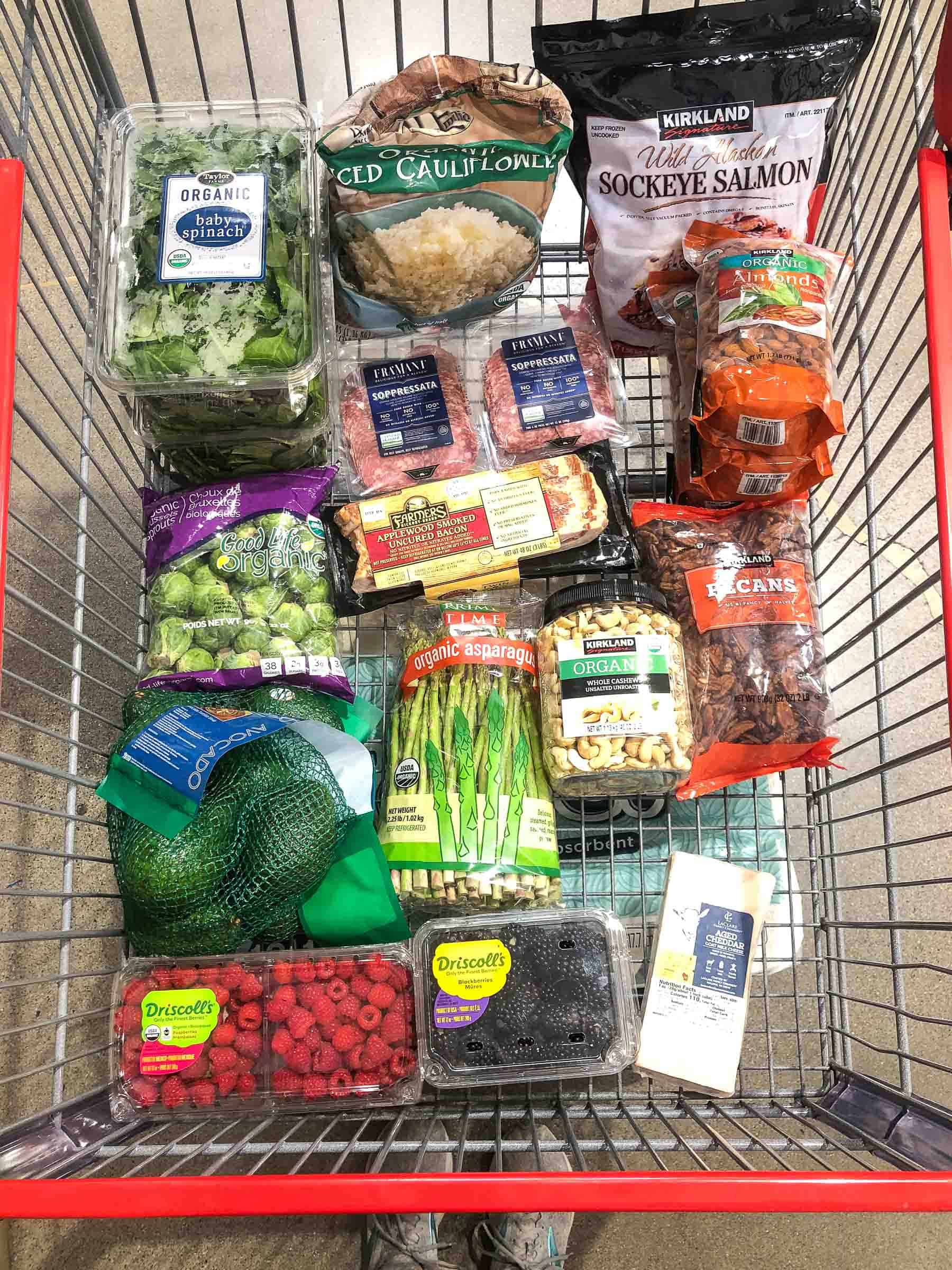 whole30 keto costco grocery haul groceries in a grocery cart