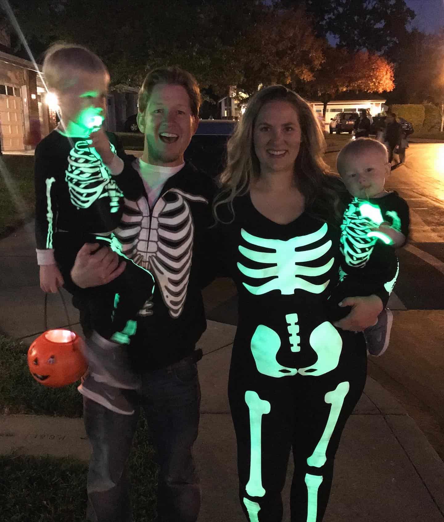 Glow in the dark skeleton family halloween costume