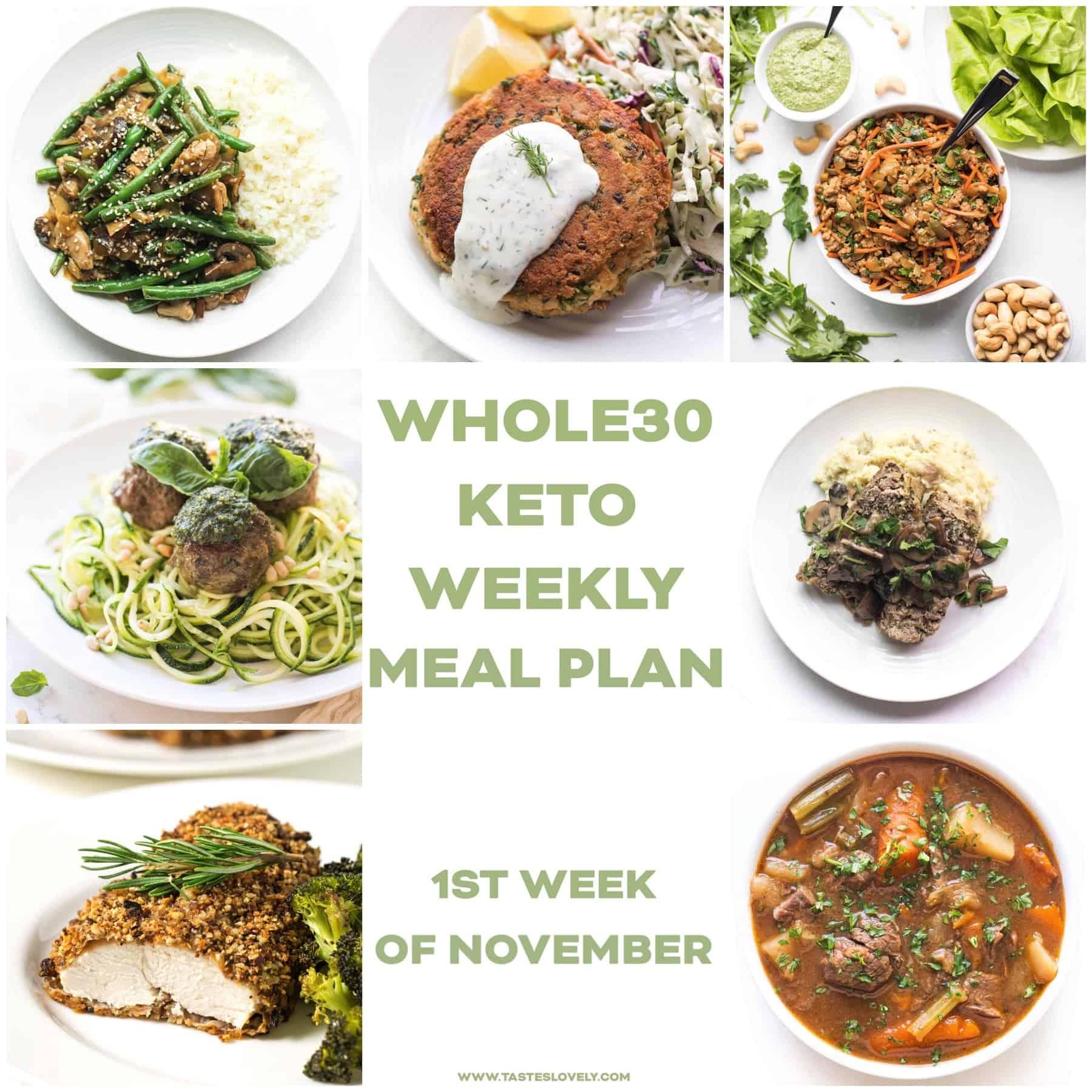 Whole30 keto weekly meal plan menu recipe roundup November week 1