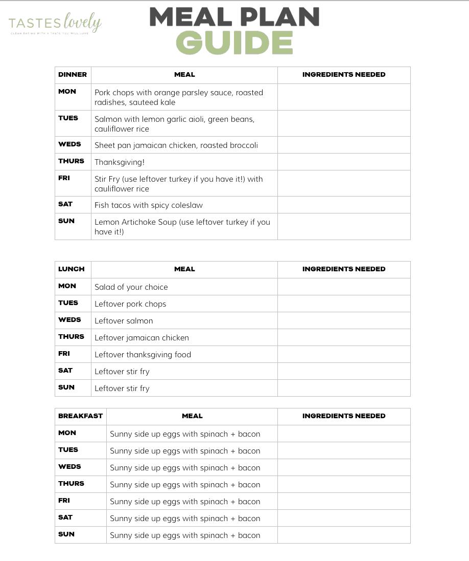 printable weekly meal plan whole30 keto