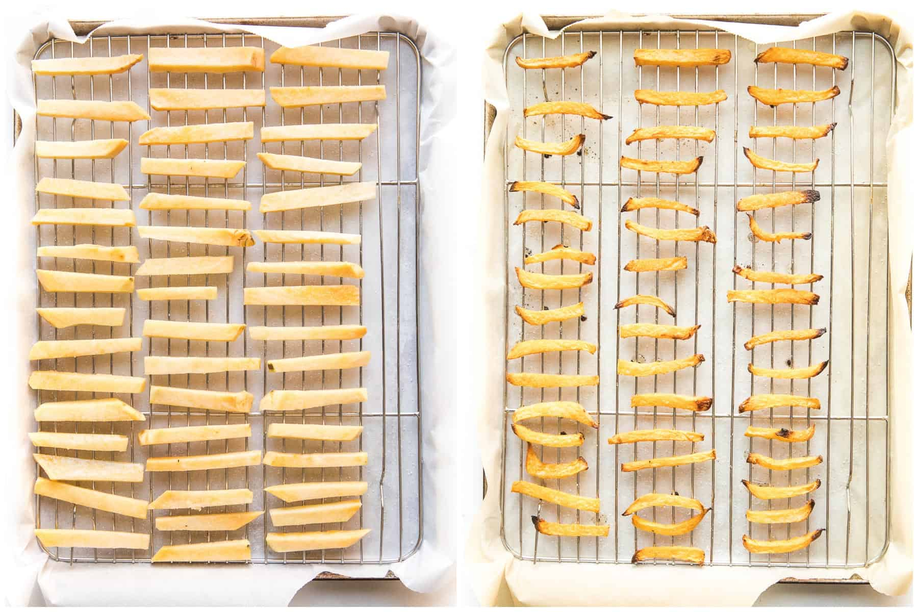keto french fries on a wire baking rack