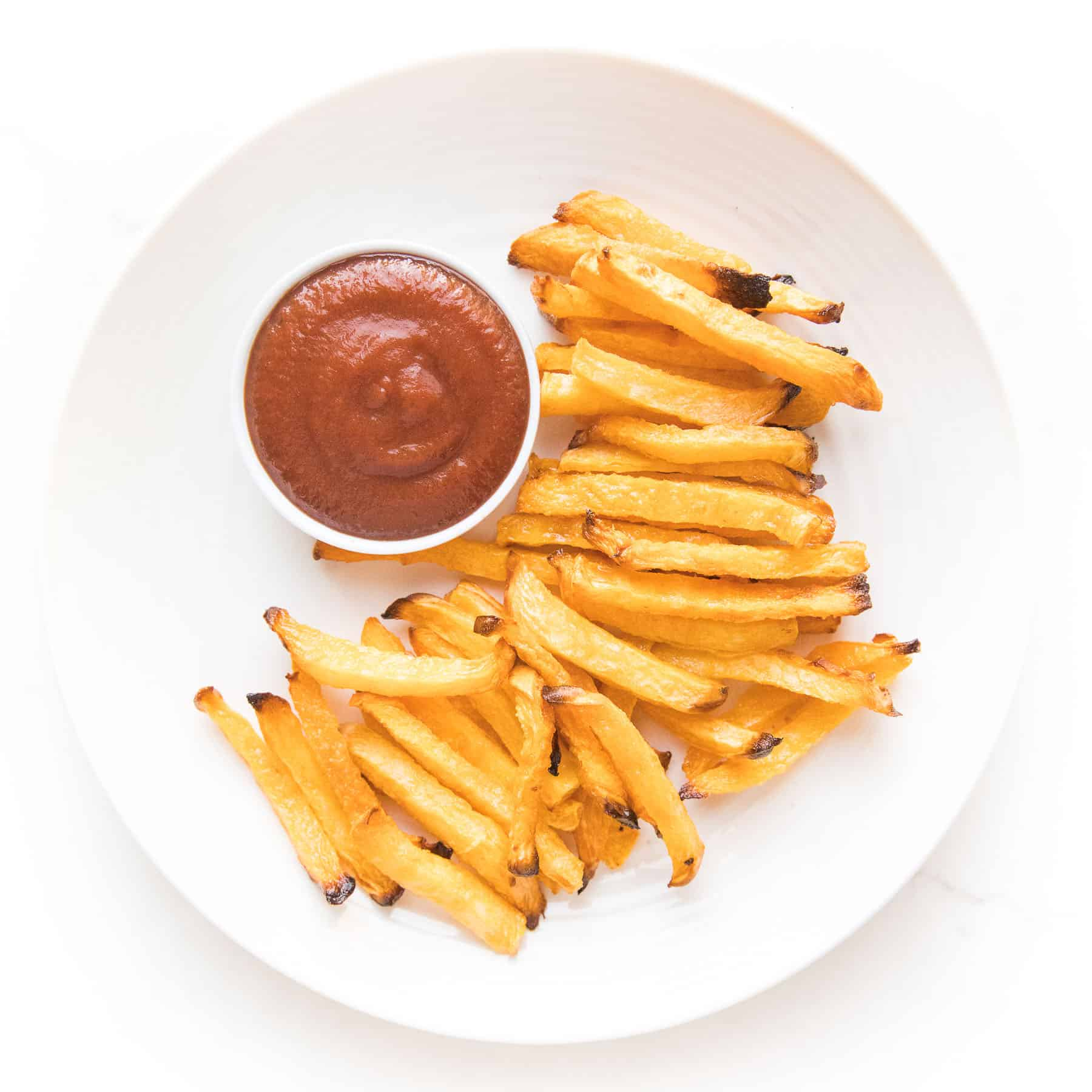 keto french fry dipped in ketchup