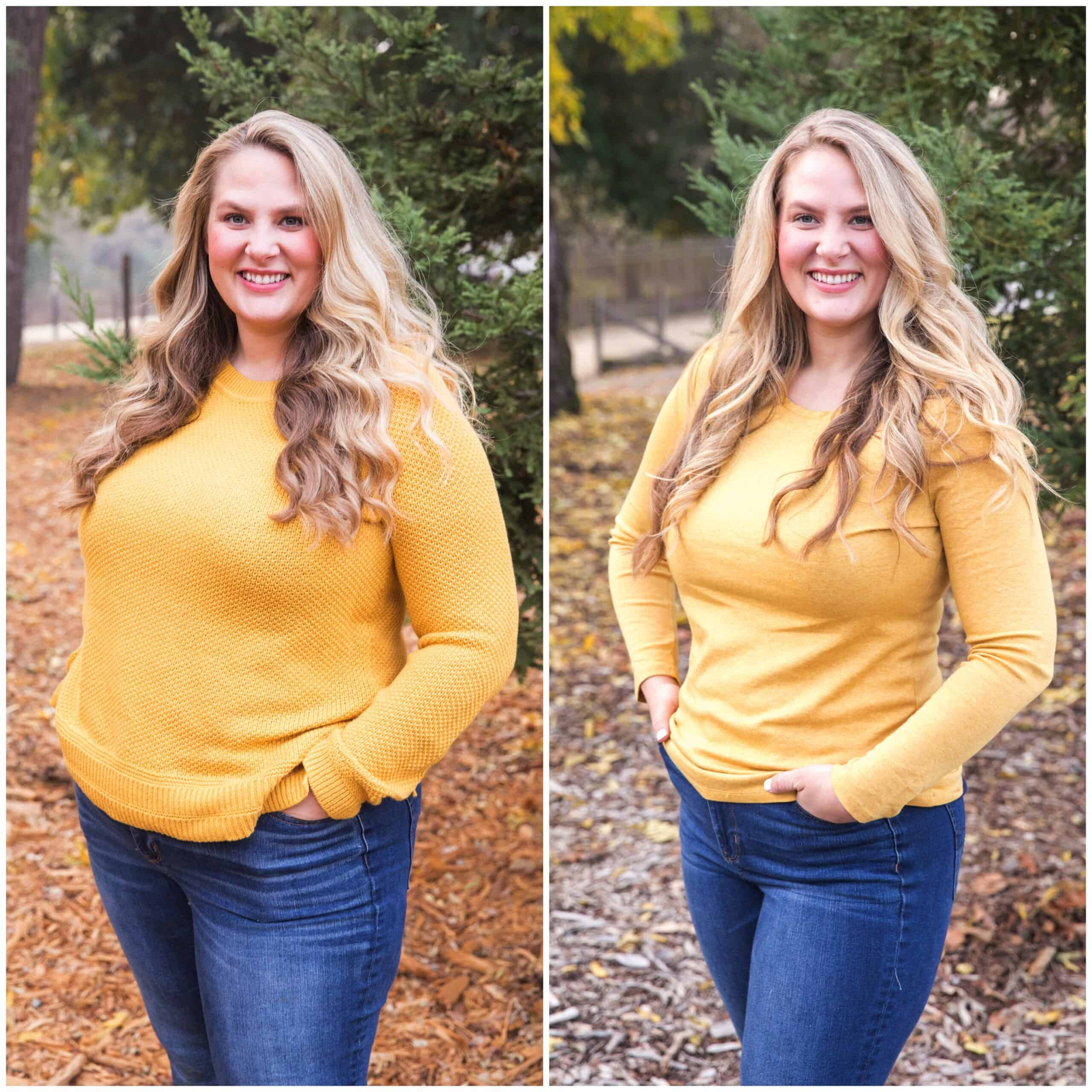 Side by Side Before + After Weight Loss Transformation