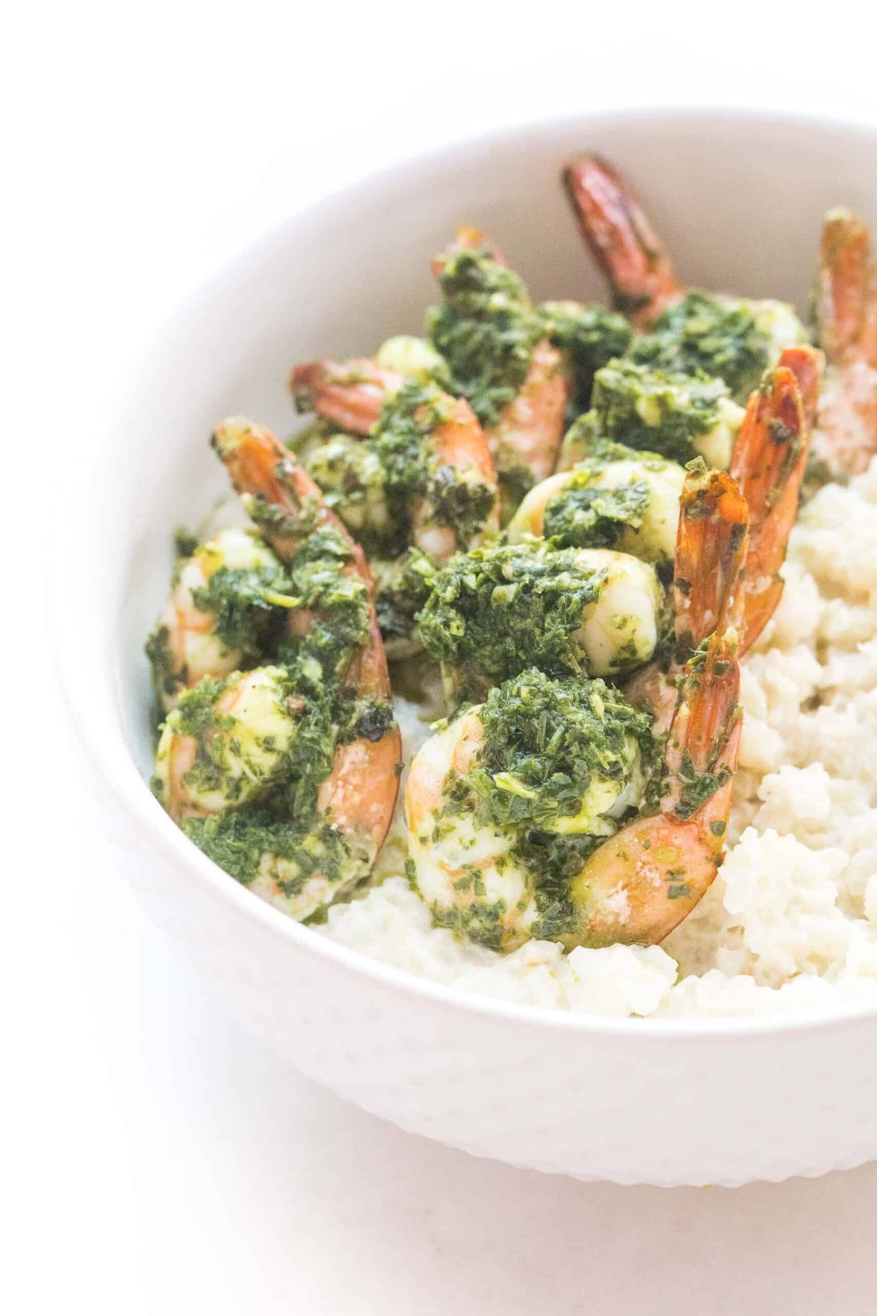 chimichurri shrimp on cauliflower rice risotto