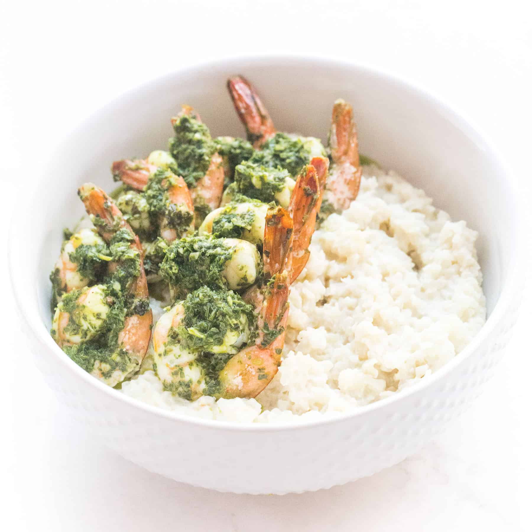 chimichurri shrimp on cauliflower risotto