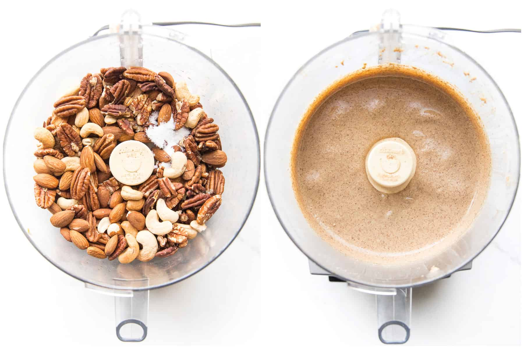 making nut butter in a food processor
