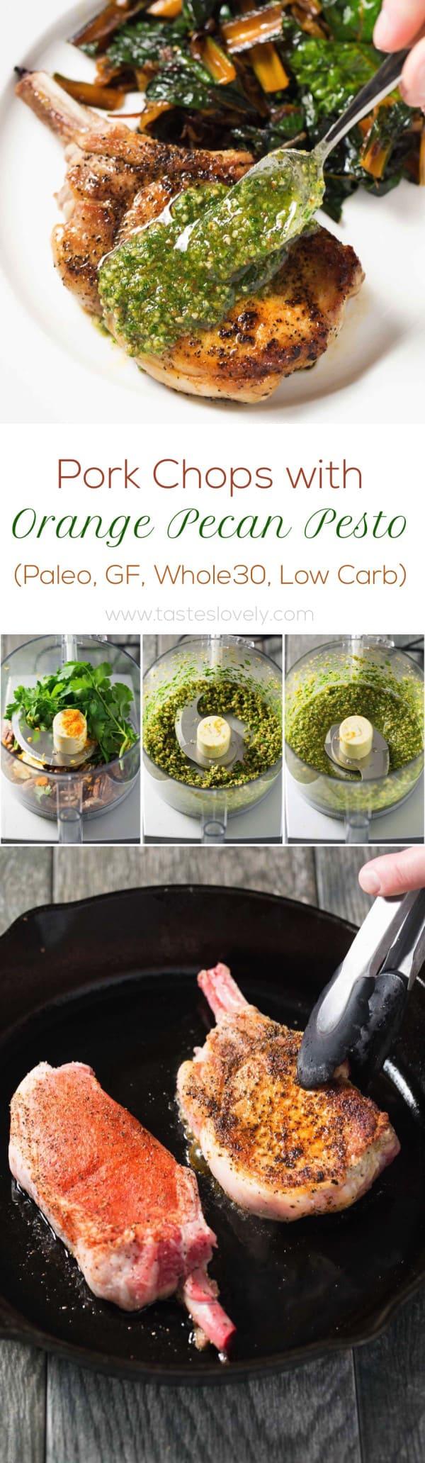Pork Chops with Orange Pecan Pesto (Paleo, Gluten Free, Whole30, Low Carb)