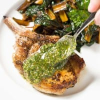 Pork Chops with Orange Pecan Pesto